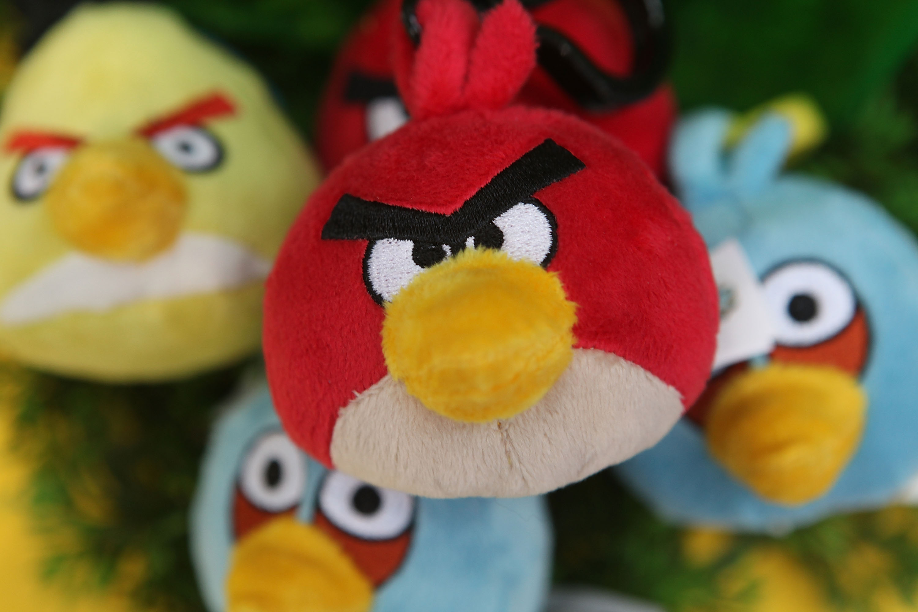 Angry Birds plush toys on display at the Toy Fair 2011 at Olympia Exhibition Centre on Jan. 25, 2011 in London, England.