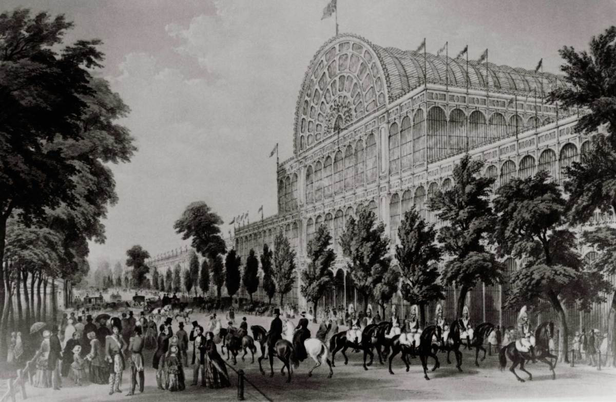 Crystal Palace, built to house London's Great Exhibition of 1851, lithograph.