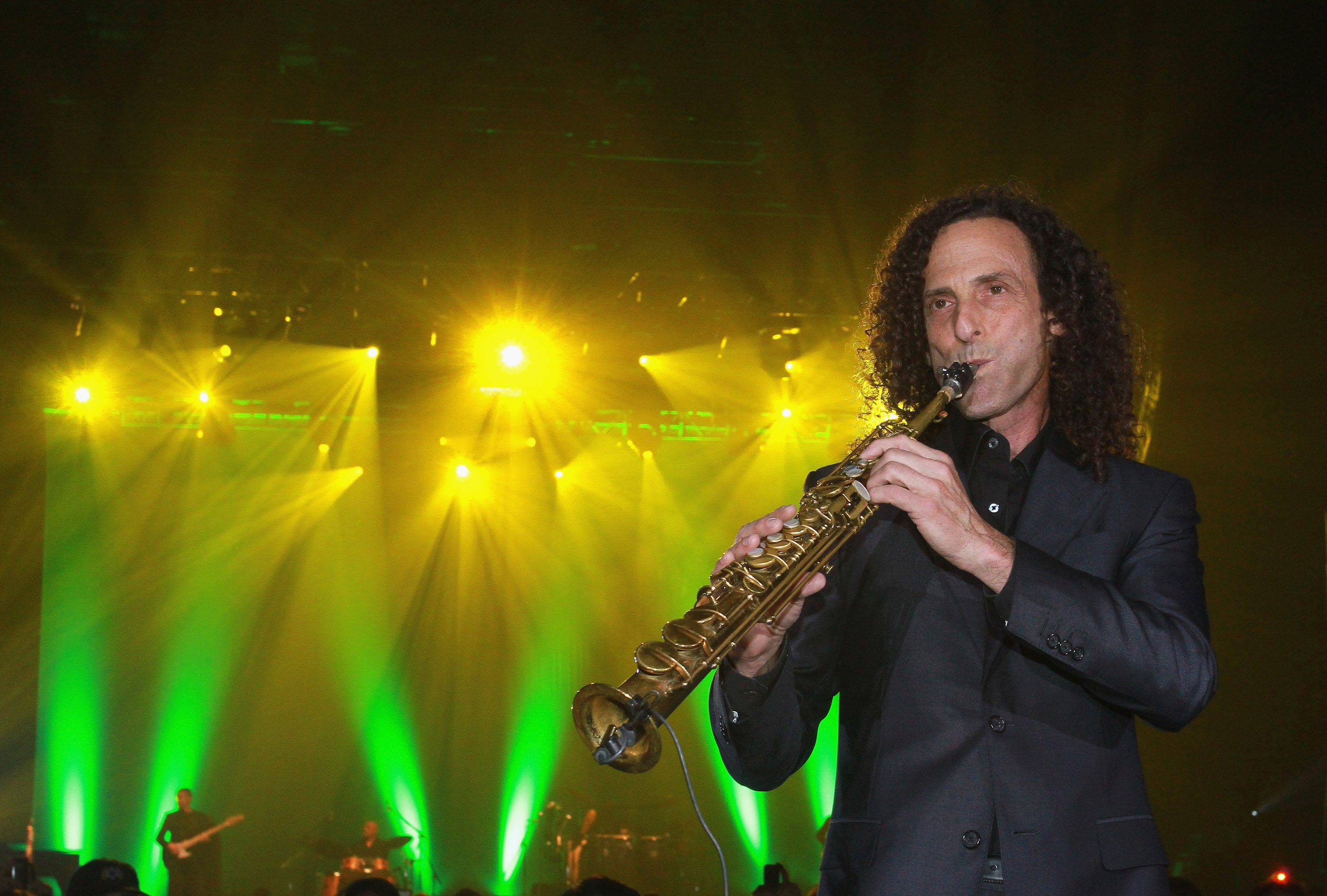 American musician Kenny G performs on stage during his concert at Hong Kong International Trade and Exhibition Centre on May 17, 2011 in Hong Kong.
