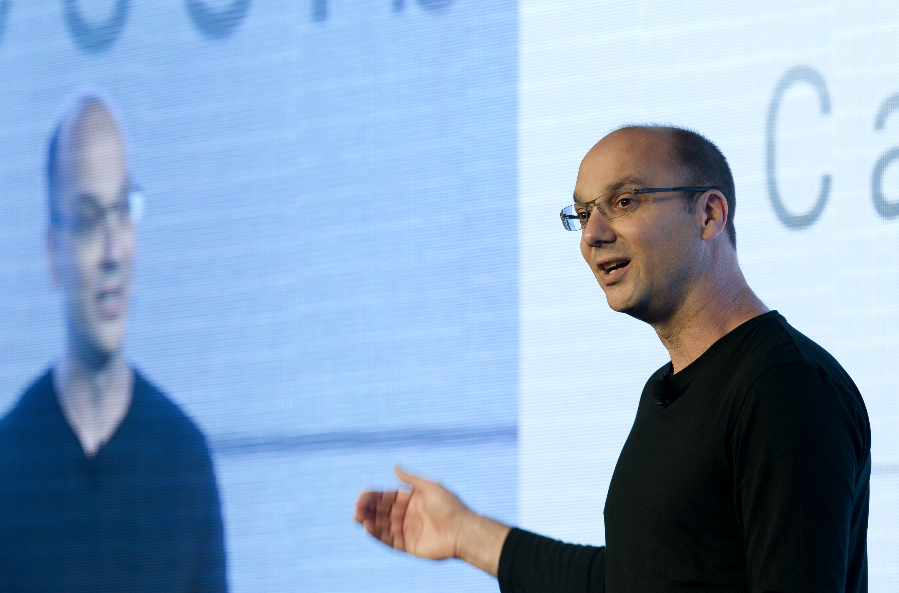 Andy Rubin, senior vice-president of Google Inc.'s mobile division, speaks during an event in Hong Kong, China, on Wednesday, Oct. 19, 2011.