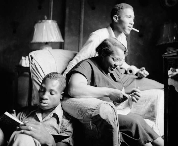 Red Jackson with His Mother and Brother, Harlem, New York, 1948