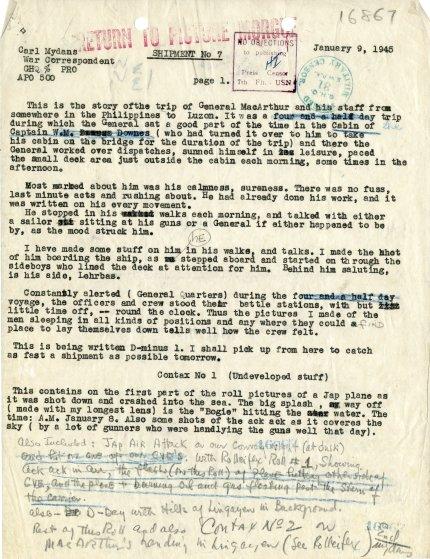 Carl Mydans' typed and handwritten notes, jan. 9, 1945.