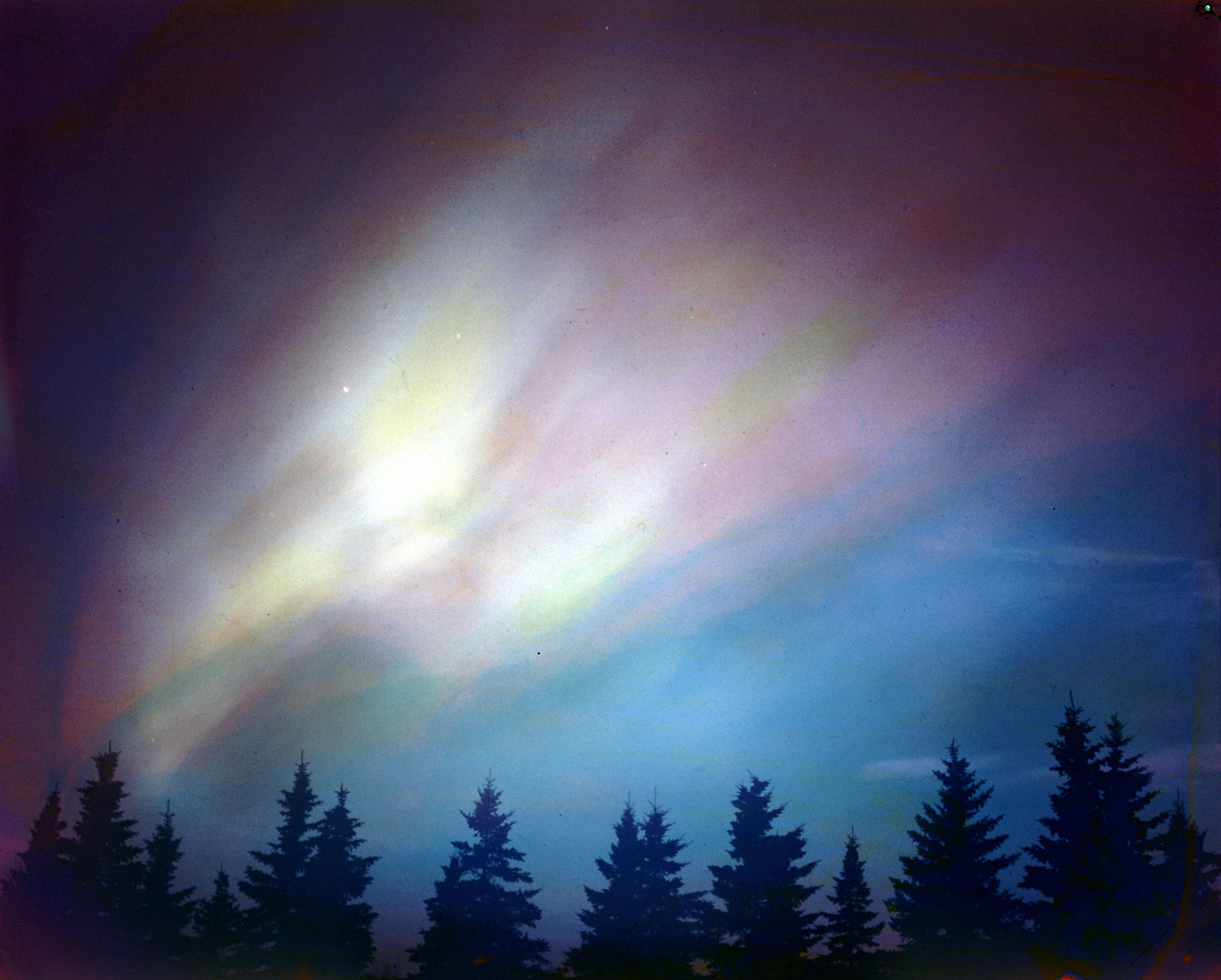 The aurora borealis, a.k.a., the northern lights, northern Canada, 1953.