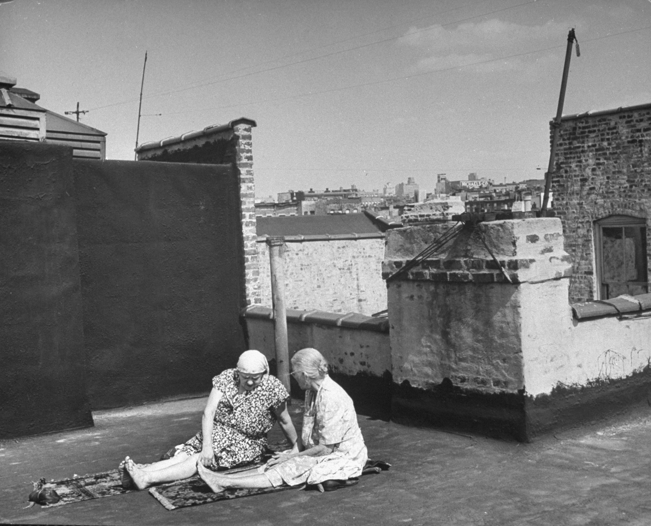 Taking the sun on a Brooklyn rooftop, 1946.