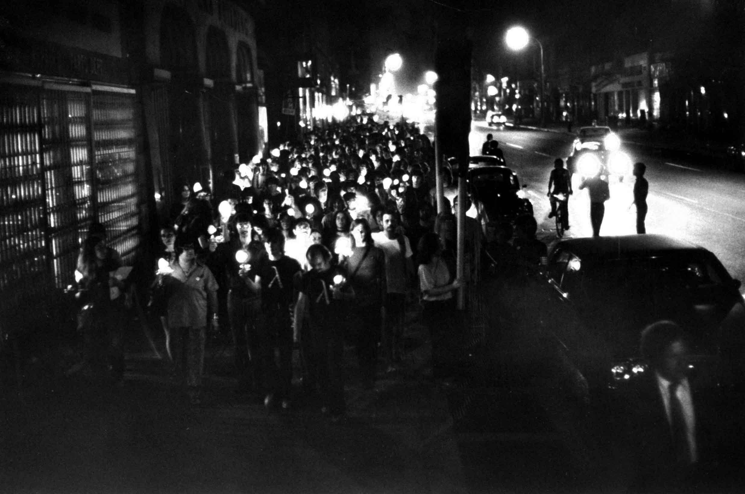 <b>Caption from LIFE</b> In commemoration of the 1969 Stonewall riots in Greenwich Village, militants this year designated the last week in June as Gay Liberation Week and celebrated with a candlelight parade. The parade involved 300 male and female homosexuals, who marched without incident two miles from Gay Activists headquarters to a park near City Hall.