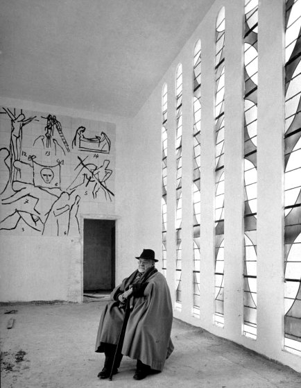 In 1951, Henri Matisse sits in the Chapel of the Rosary in Vence, France — a building he designed and decorated, and that he considered his life's masterpiece.