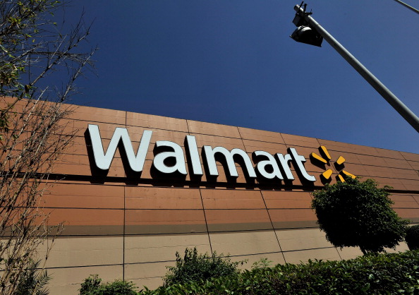 Walmart store signage is seen from the store lot on April 23, 2012, in Mexico City