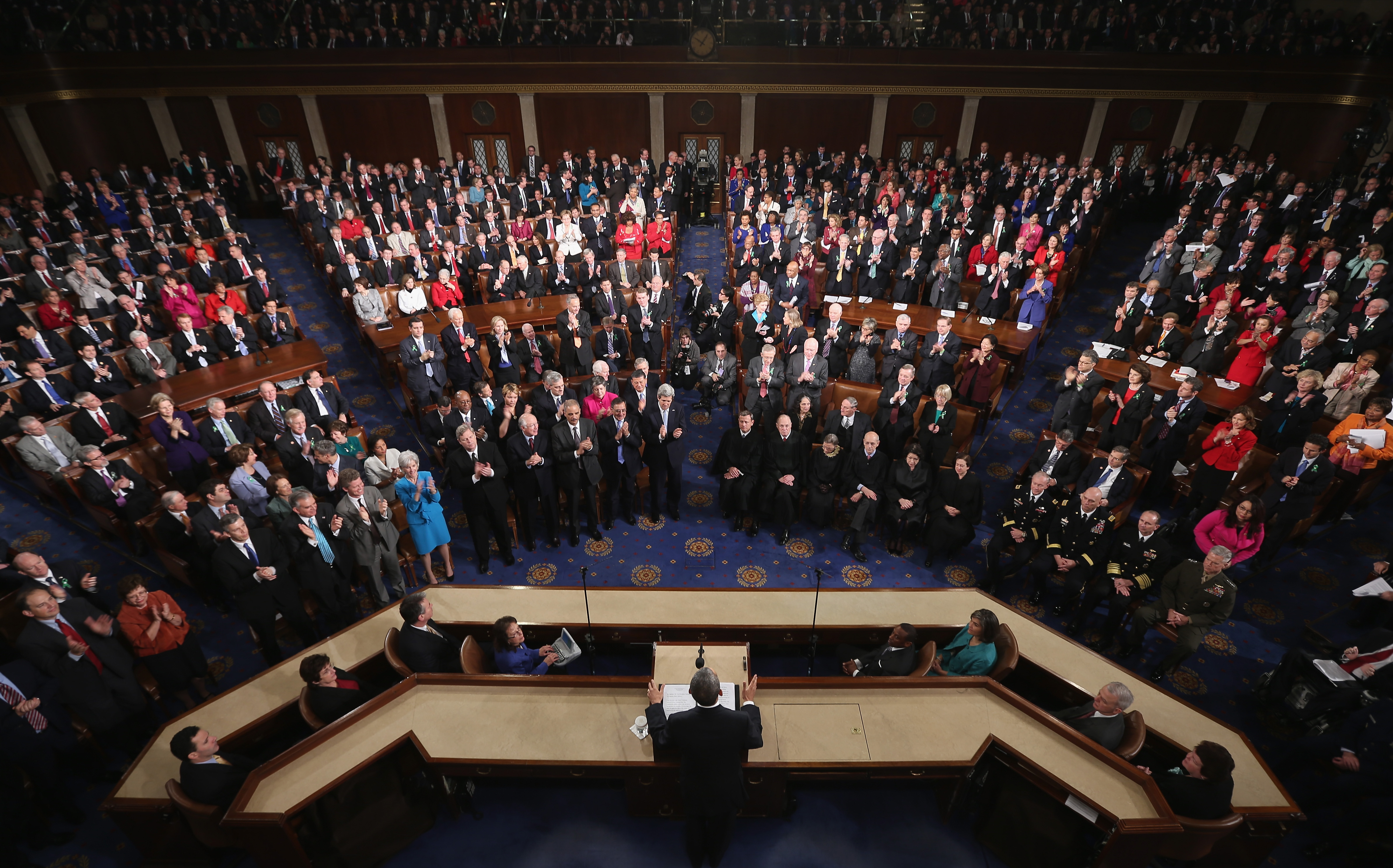 U.S. President Barack Obama delivers his State of the Union speech before a joint session of Congress at the U.S. Capitol February 12, 2013 in Washington, DC.
