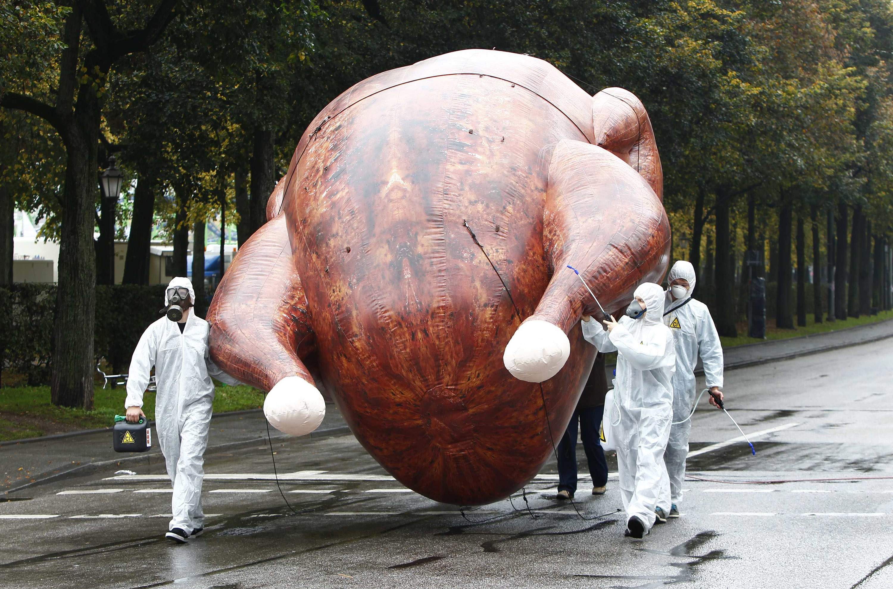 Environmental activists carry a giant inflatable chicken as they demonstrate against 'chlorine chickens' near the Oktoberfest grounds in Munich on Oct. 1, 2014.