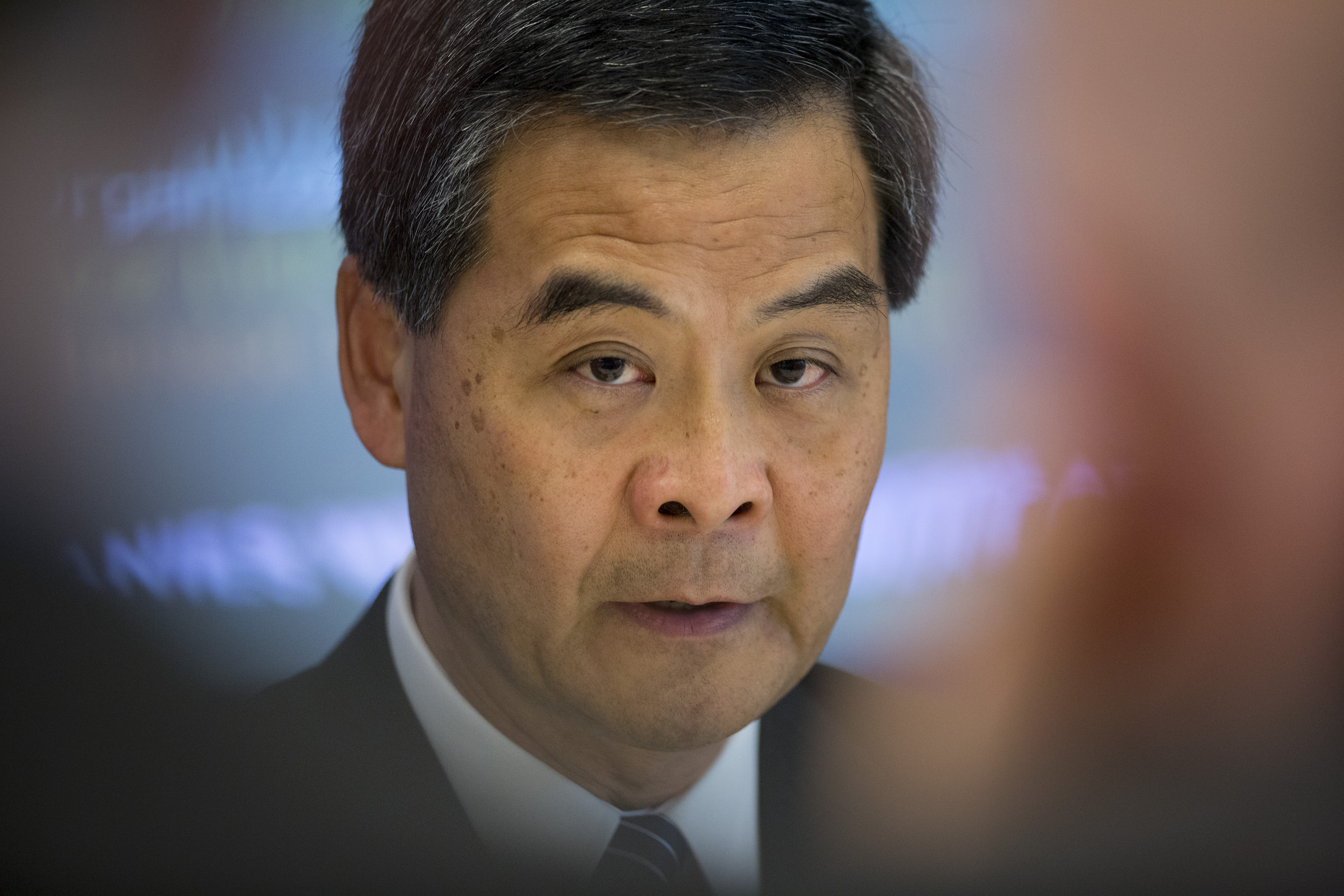 Leung Chun-ying, Hong Kong's chief executive, speaks during an interview in New York, U.S., on Wednesday, June 12, 2013.