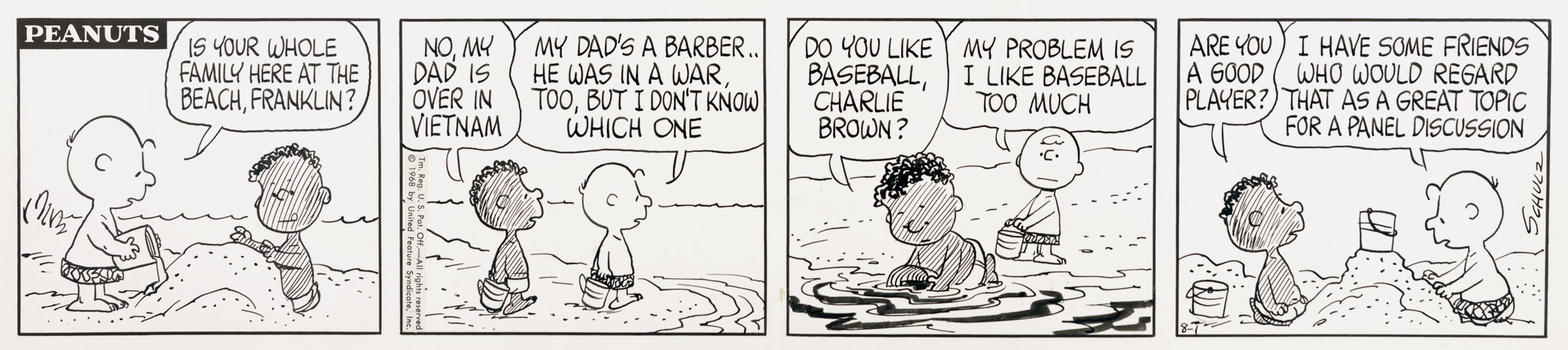 Peanuts, August 1, 1968 Shortly after the assassination of Rev. Dr. Martin Luther King, Jr., Los Angeles schoolteacher, Harriet Glickman, wrote to Schulz regarding the integration of Peanuts. She believed that the popular comic strip could help influence American attitudes on race, and as a result of their correspondence, Franklin was introduced to the cartoon in the summer of 1968.