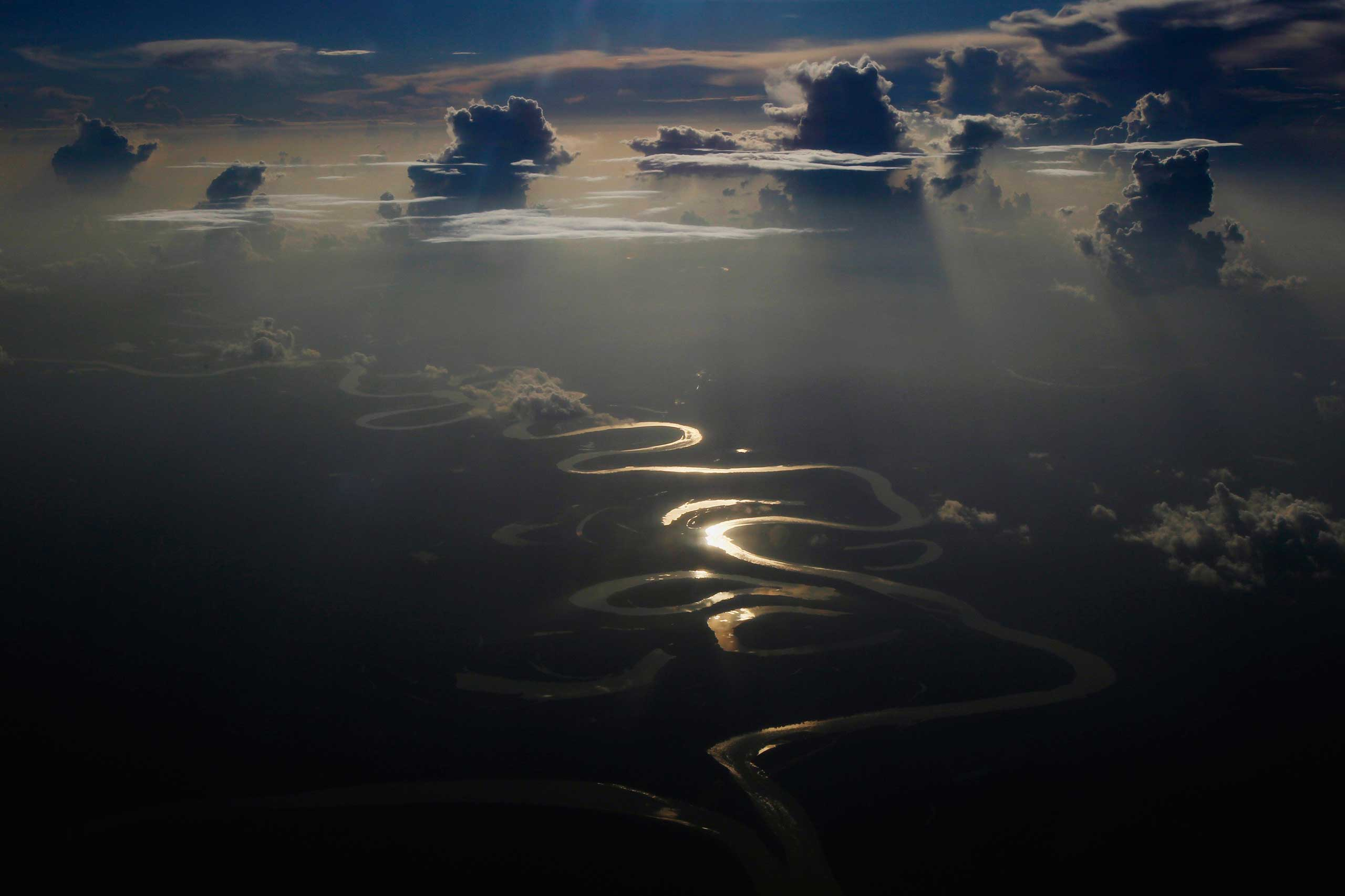Sept. 29, 2014. An Aerial view of a river in Peru's Amazon region of Loreto.