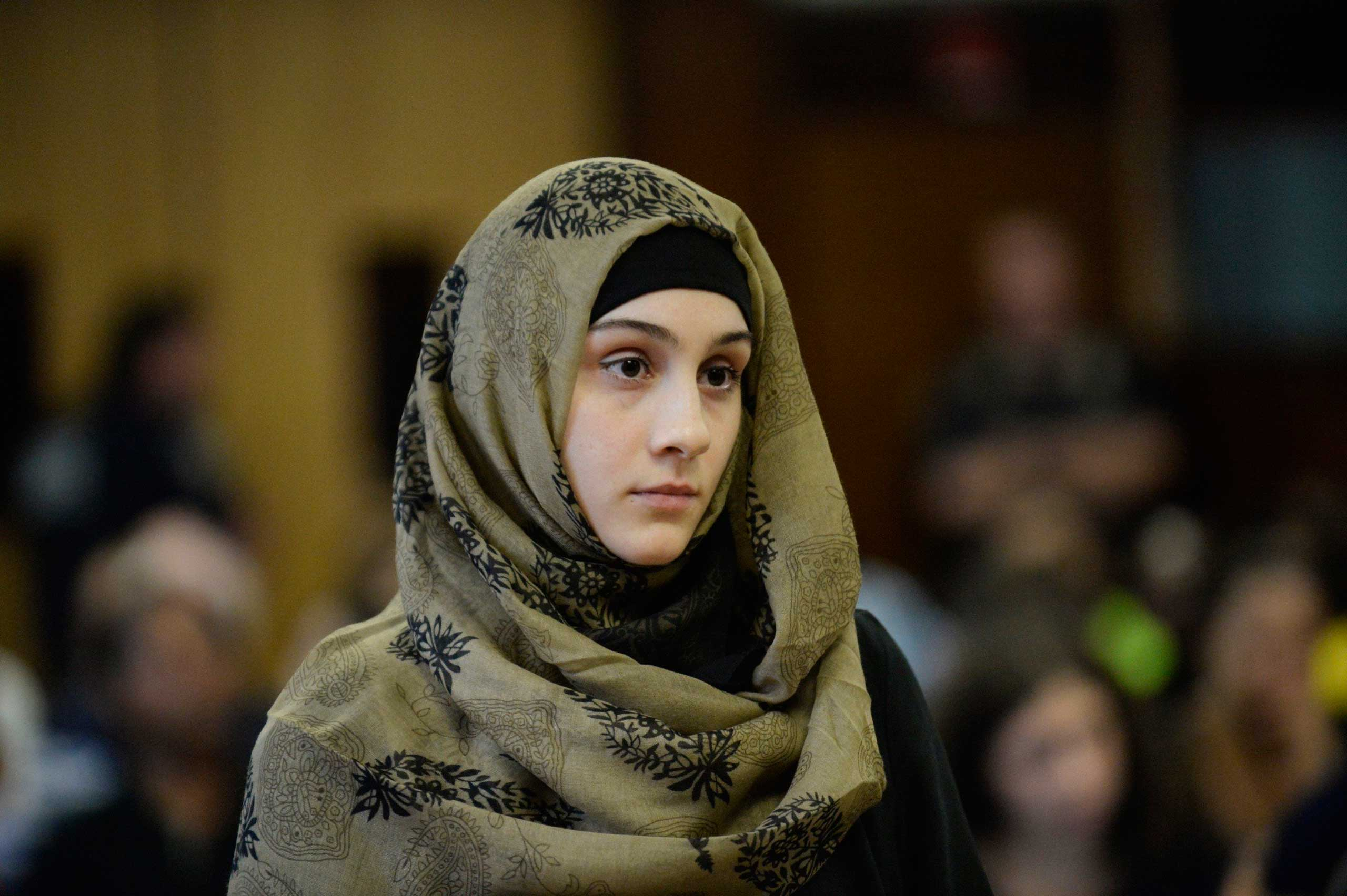Sept. 30, 2014. Ailina Tsarnaev, sister of the accused Boston Marathon bombers appears in New York Criminal Court in Manhattan, New York. Tsarnaev is accused of aggravated harassment for telling a woman over the phone the  I have people that can go over there and put a bomb on you.