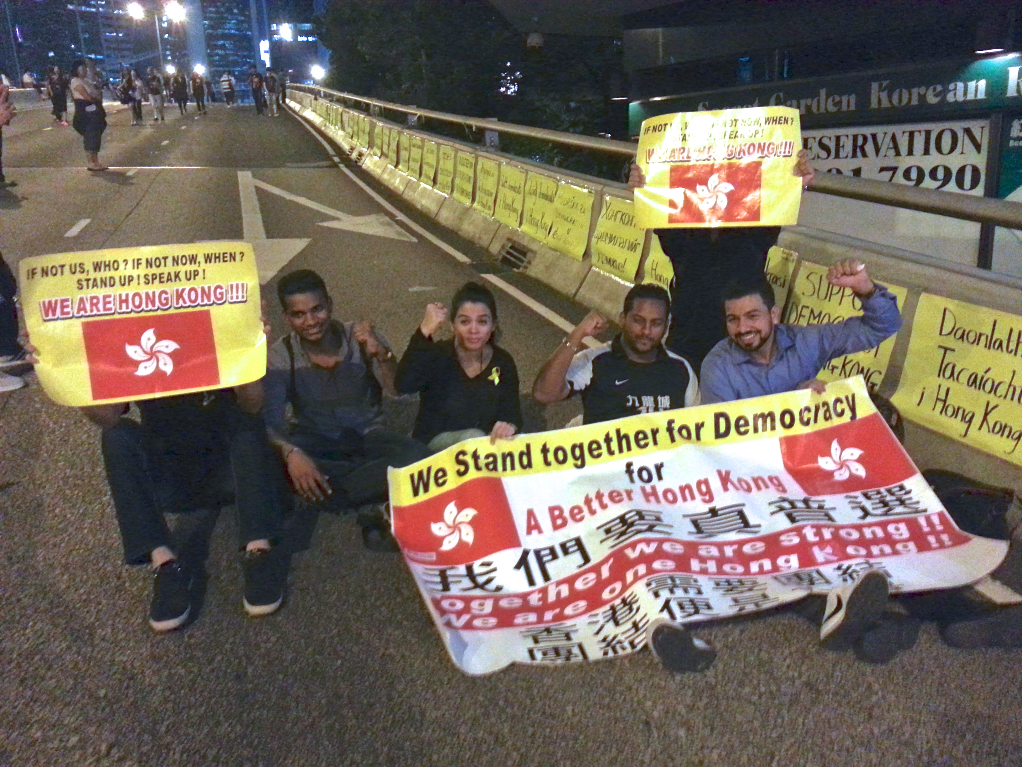 Members from Hong Kong's South Asian community take part in a protest for democracy on October 9, 2014 in the Central district of Hong Kong.