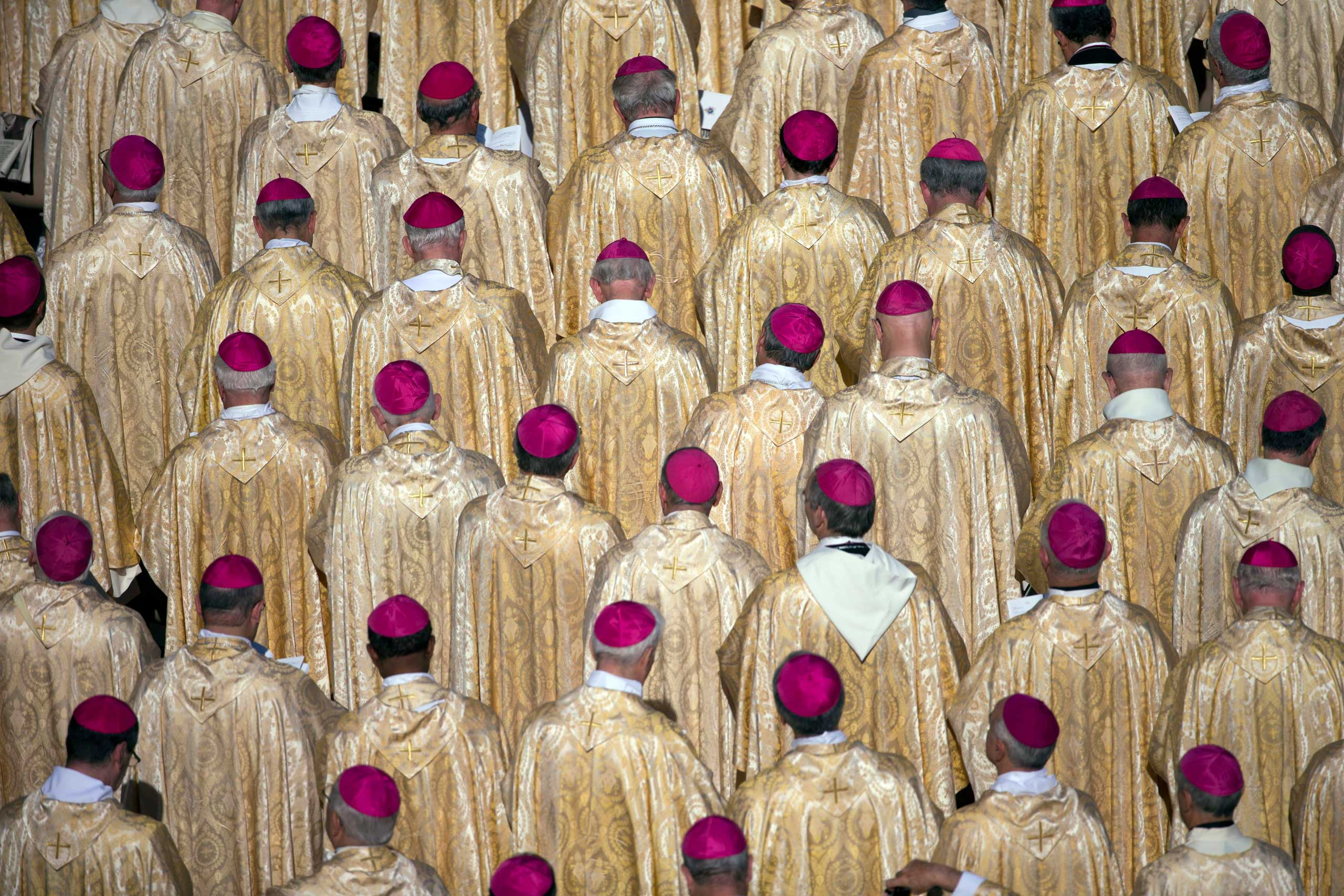 Oct. 19, 2014. Bishops attend the beatification ceremony of Pope Paul VI, and a mass for the closing of of a two-week synod on family issues, celebrated by Pope Francis, in Saint Peter's Square at the Vatican.