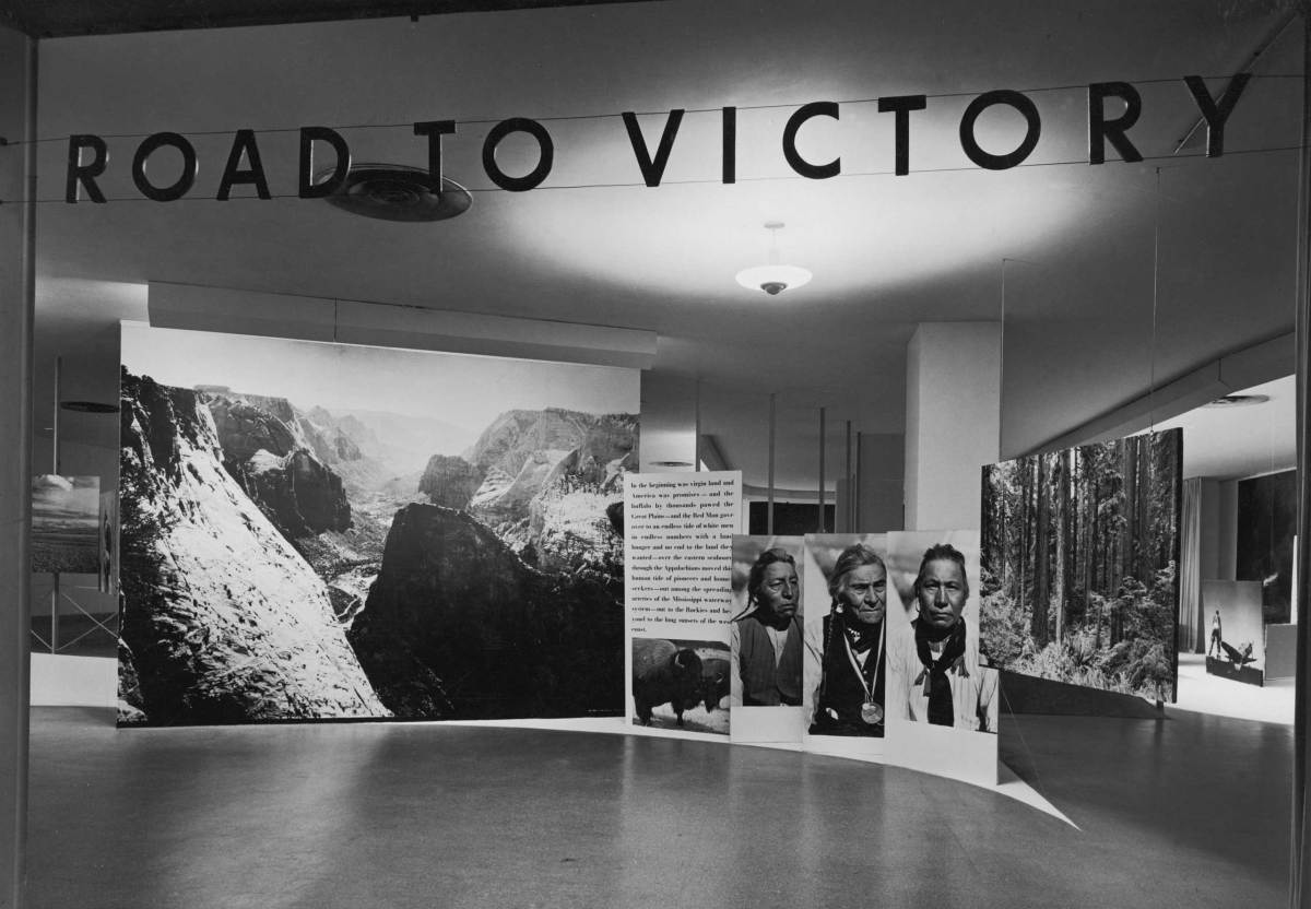 Installation view of the exhibition Road to Victory, New York, Museum of Modern Art May 21, 1942 through October 4, 1942.