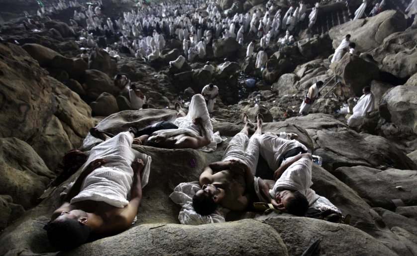 MUSLIM PILGRIMS GATHER ON MOUNT ARAFAT, NEAR MECCA, AS THEY TAKE PART IN ONE OF THE HAJJ RITUALS