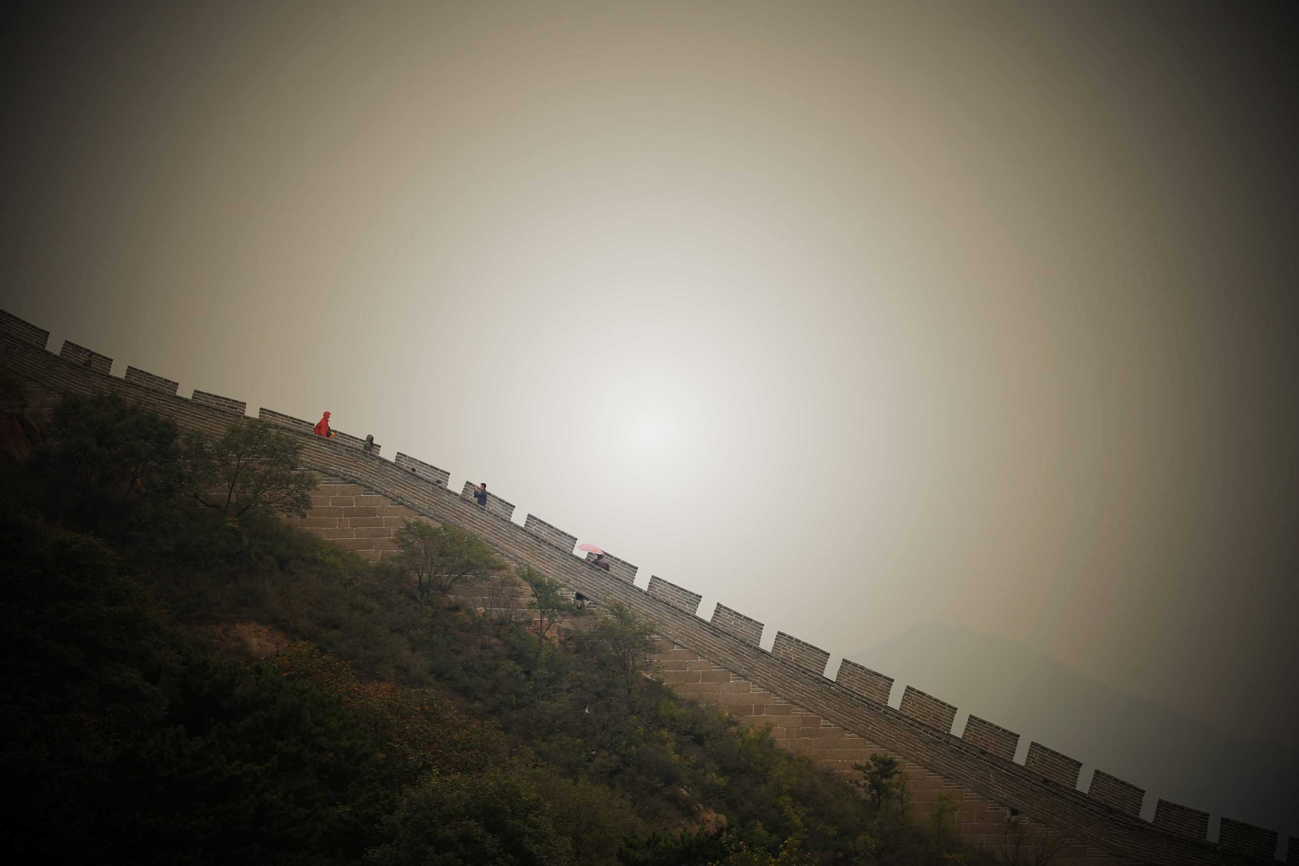 Oct. 1,  2014. Tourists visit the Great Wall in Beijing, capital of China on the first day of the Chinese National Day holidays.