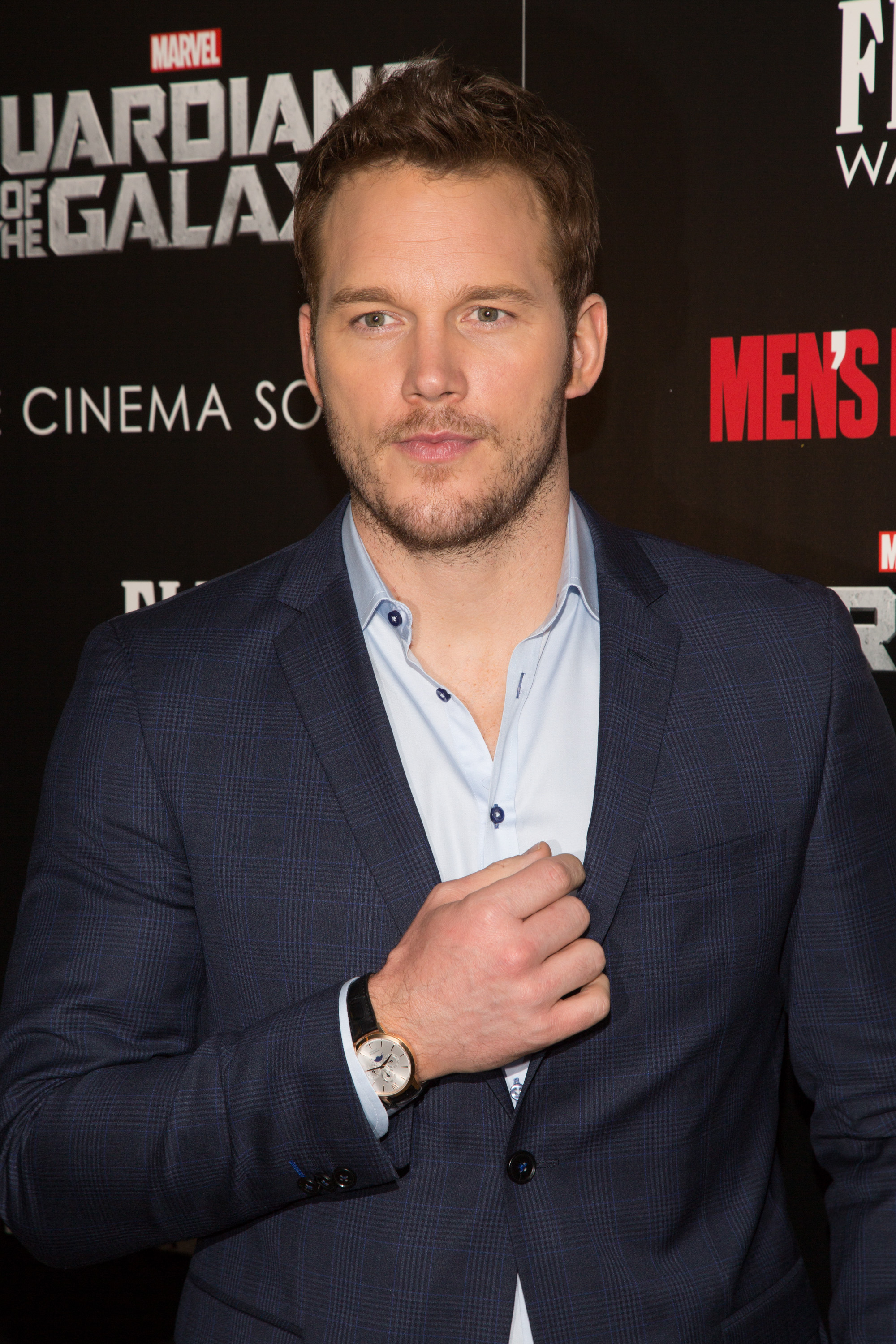 Actor Chris Pratt attends The Cinema Society with Men's Fitness and FIJI Water special screening of Marvel's  Guardians of the Galaxy  at Crosby Street Hotel in New York City on July 29, 2014