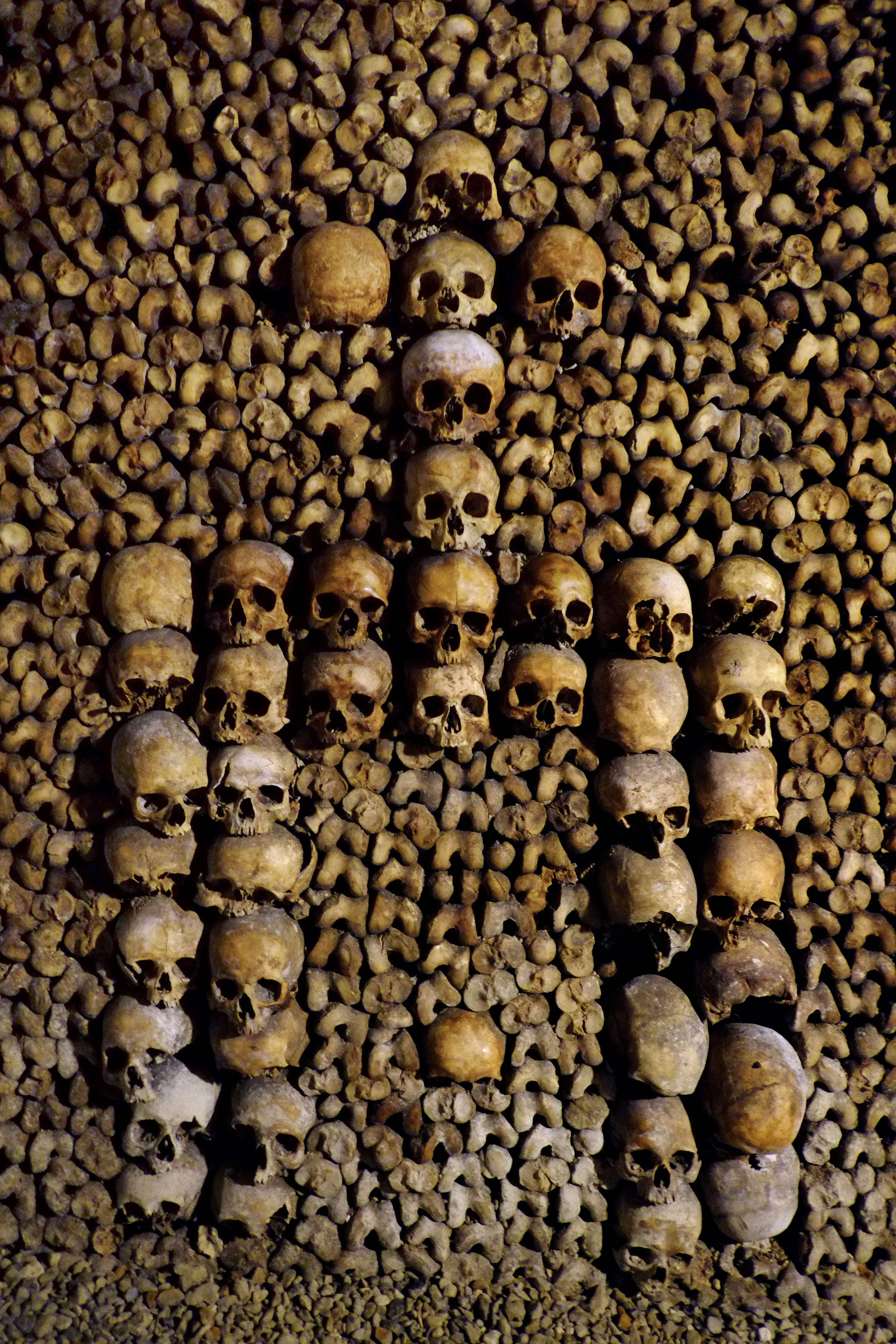 Photo taken on August 7, 2014 at the Catacombs of Paris shows bones stacked and arranged. These underground quarries were used to store the remains of generations of Parisians in a bid to cope with the overcrowding of Paris' cemeteries at the end of the 18th century, and are now a popular tourist attraction.