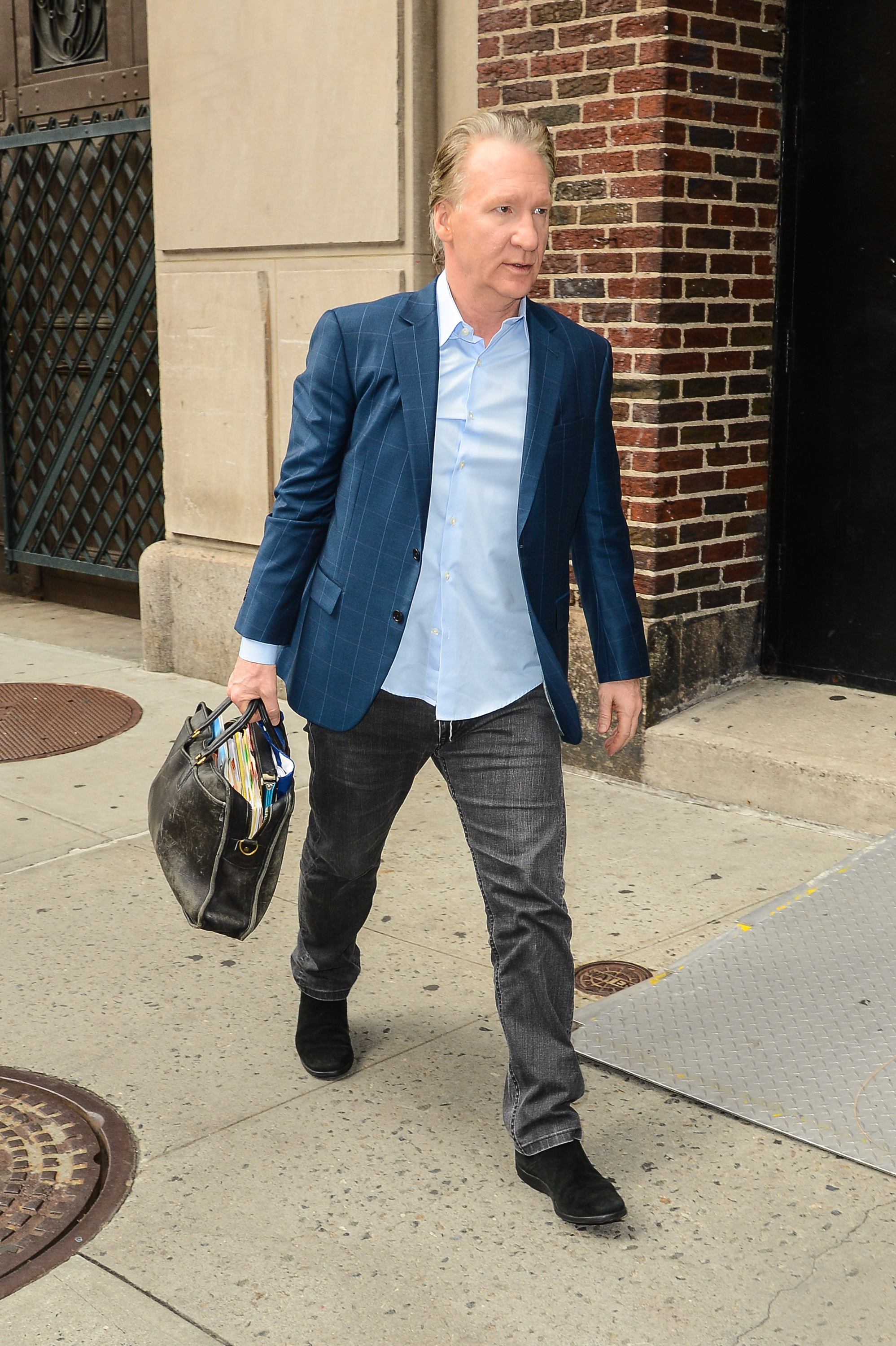 Television personality Bill Maher enters the  Late Show With David Letterman  taping at the Ed Sullivan Theater on September 8.