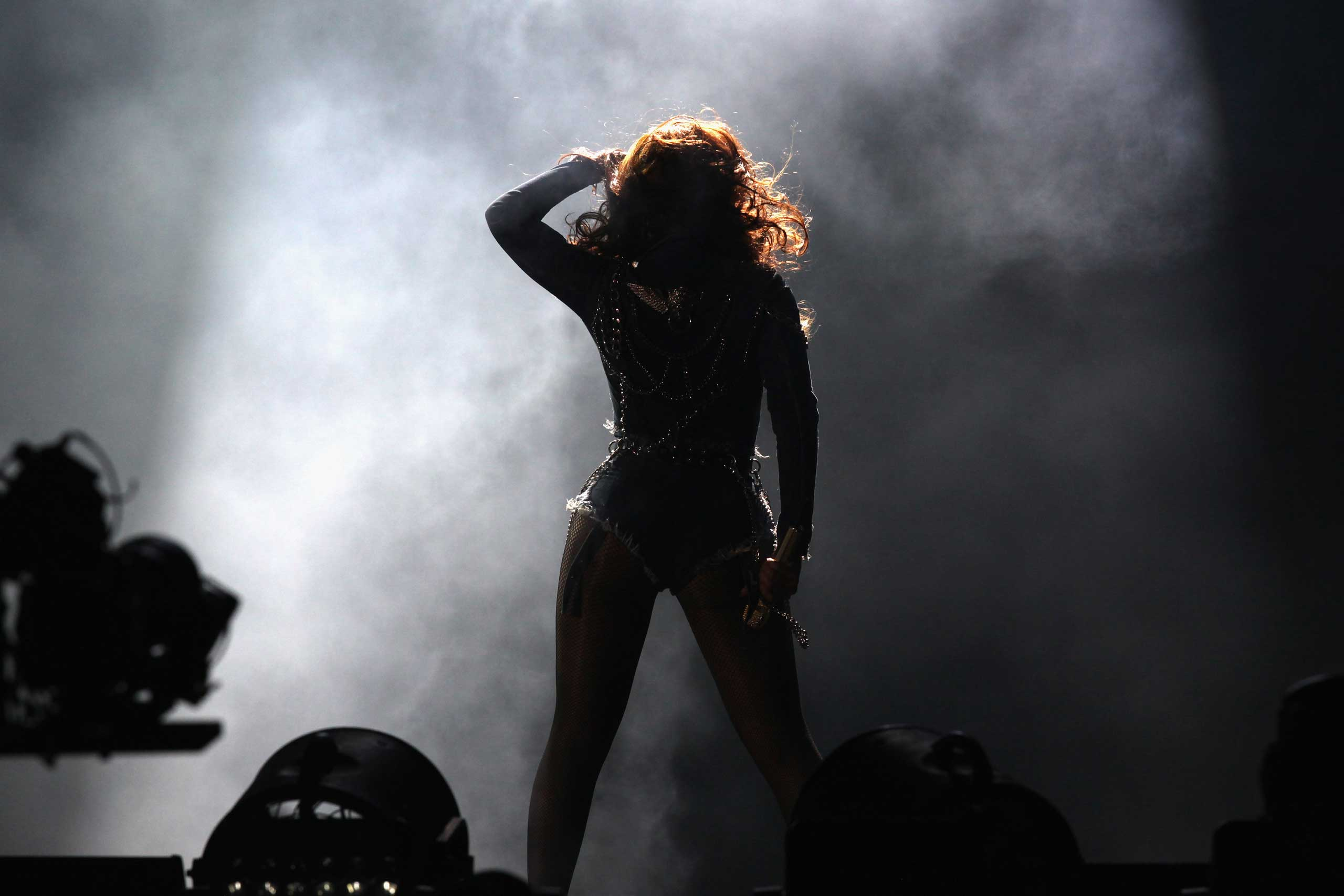 Beyonce performs during the  On The Run Tour: Beyonce And Jay-Z  at the Stade de France on Sept. 12, 2014 in Paris.