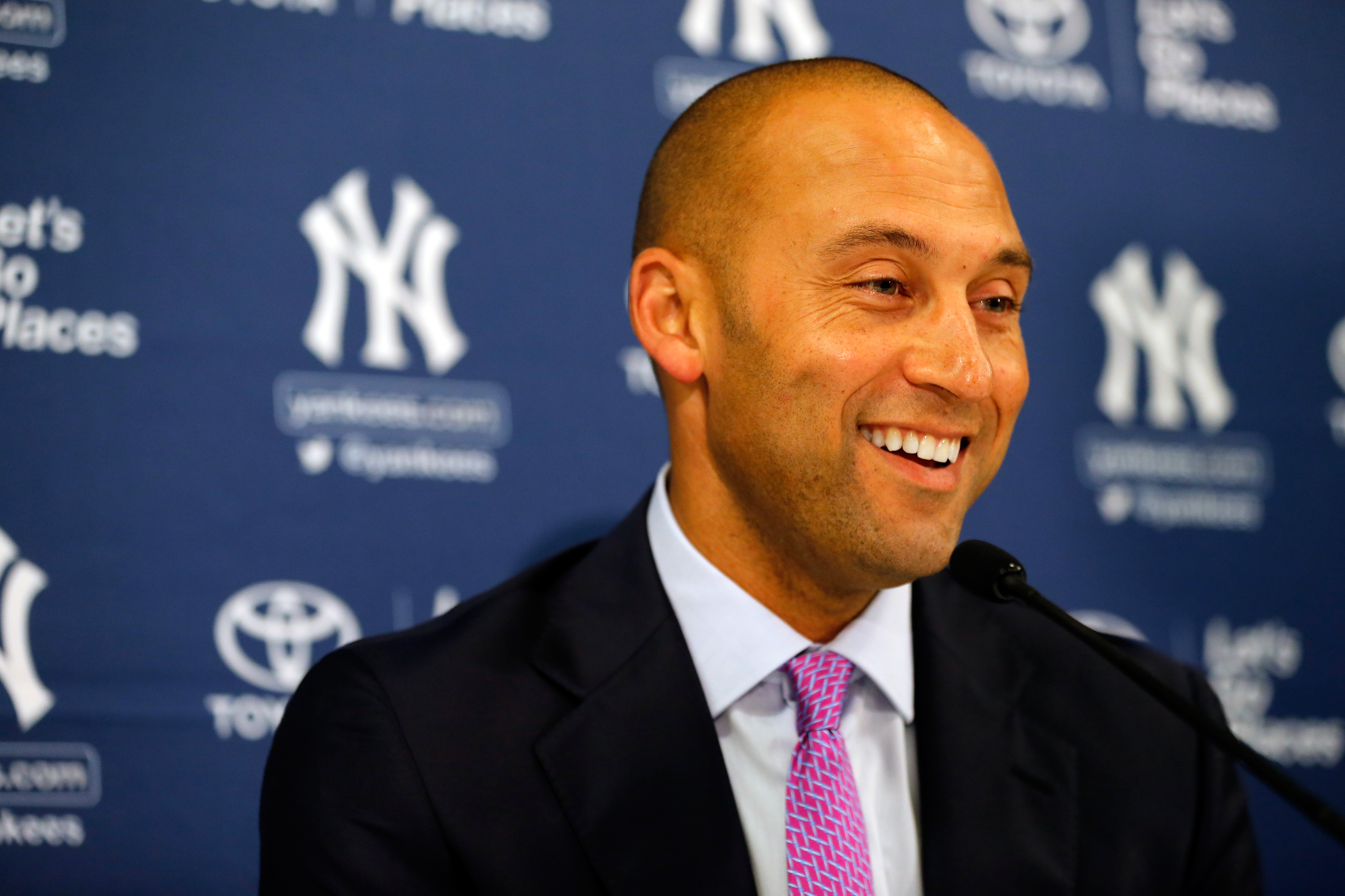 Derek Jeter speaks to the media following his last career game against the Boston Red Sox at Fenway Park on September 28, 2014 in Boston.
