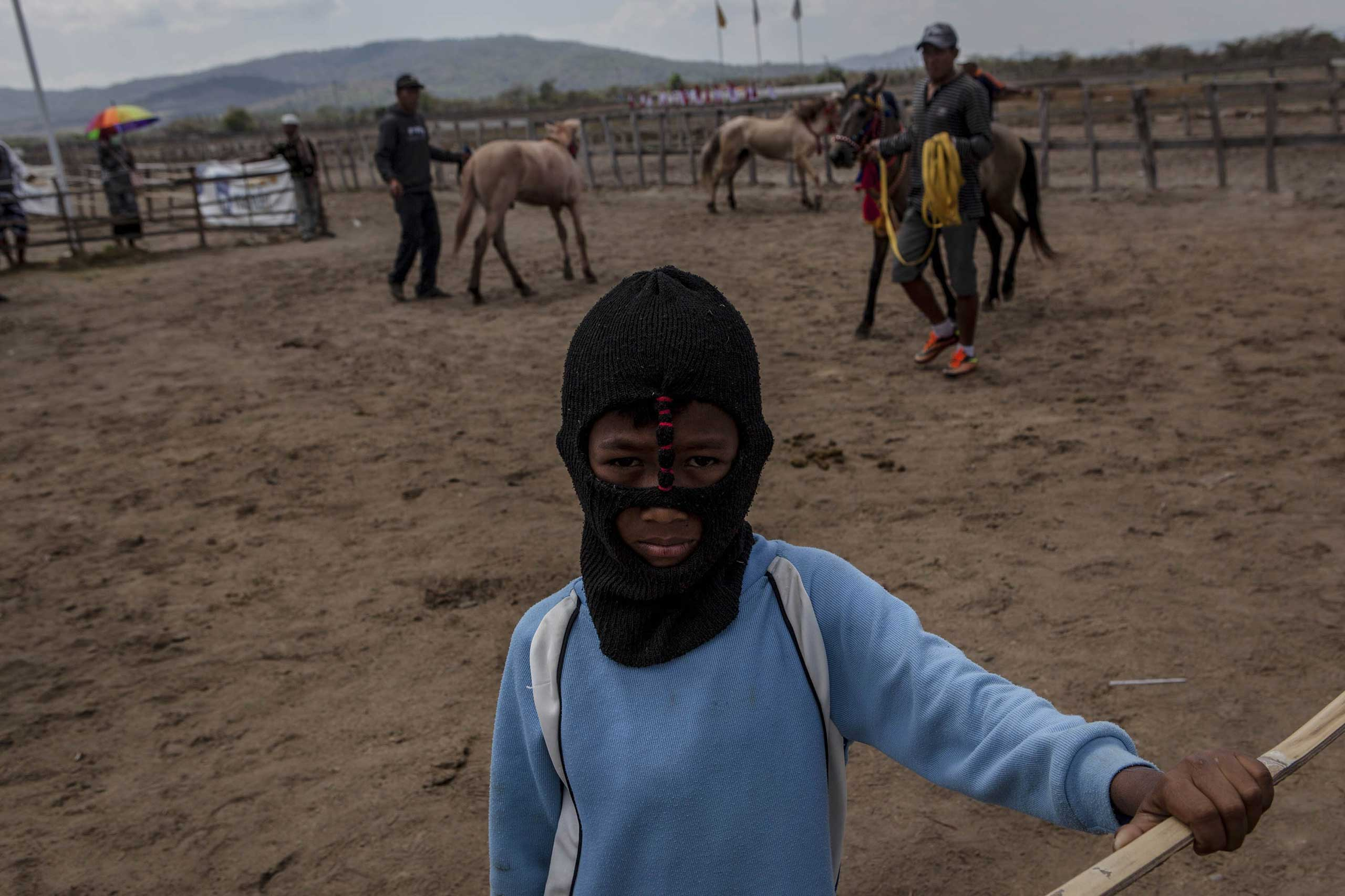 Sept. 27, 2014. A child jockey prepares for the race during the traditional horse races as part of Moyo festival in Sumbawa Island, West Nusa Tenggara, Indonesia.