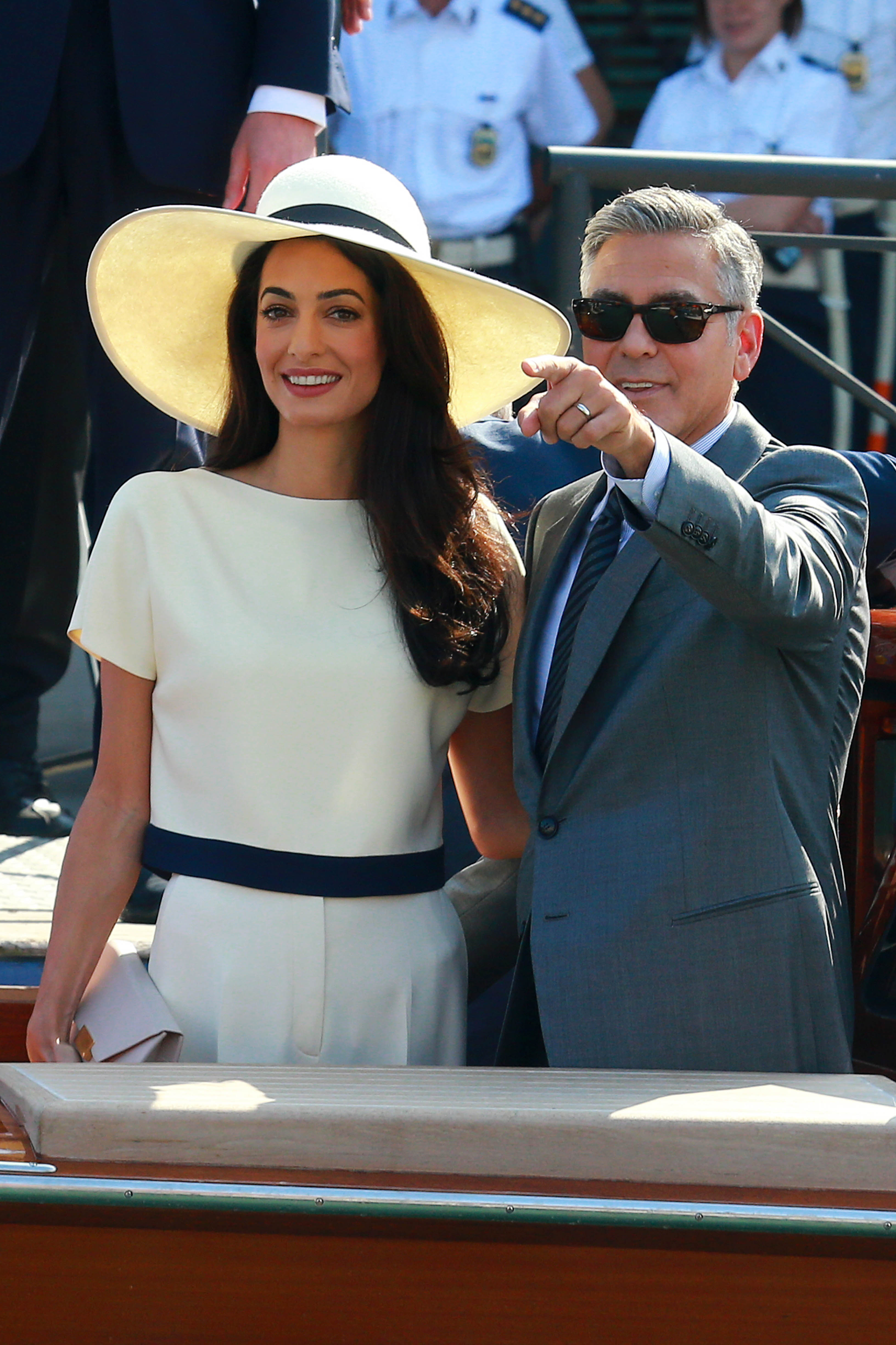 George Clooney and Amal Alamuddin sighting during their civil wedding at Canal Grande on September 29, 2014 in Venice, Italy.  (Photo by Robino Salvatore/GC Images)