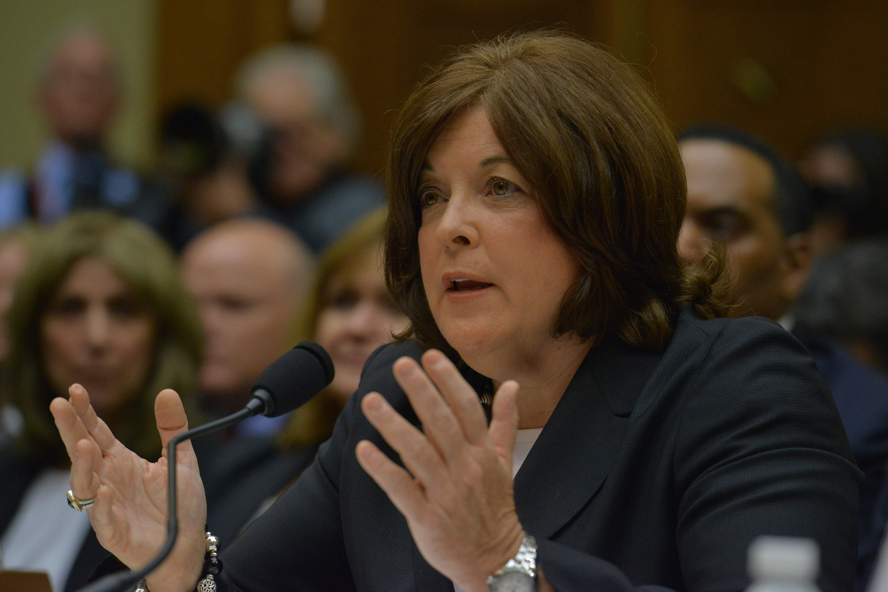 Julia Pierson, director of the U.S. Secret Service, is grilled by members of congress during a Hearing by the House Oversight Committee on the flaws and errors by the U.S. Secret Service in protecting the White House held at the Rayburn House Office Building on Tuesday, September 30 , 2014, in Washington, DC.