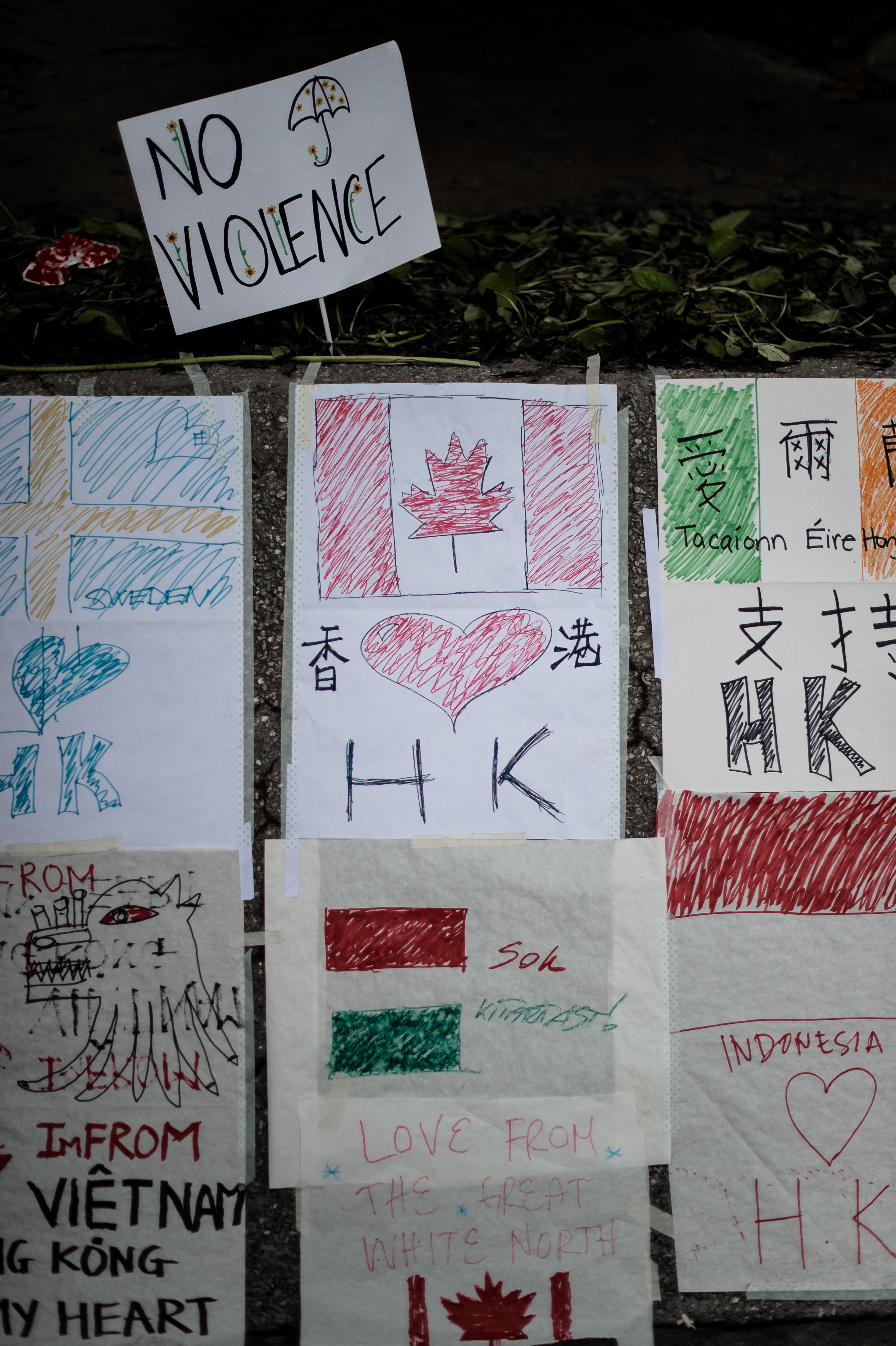 Support messages from citizens of various countries are seen near a gathering point of pro-democracy demonstrators in Hong Kong on Oct. 2, 2014