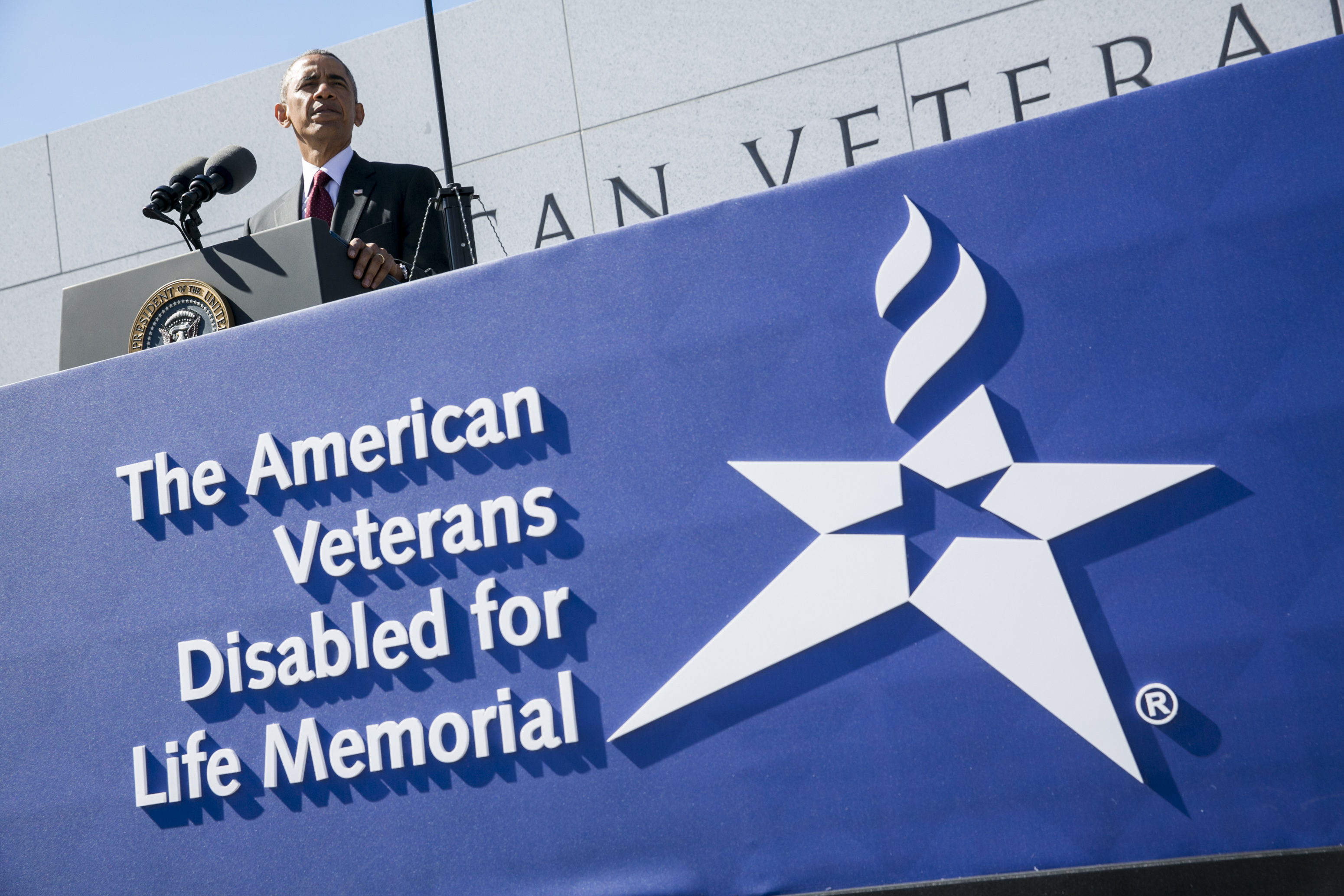 President Obama speaks Sunday at a new memorial in Washington dedicated to disabled veterans.