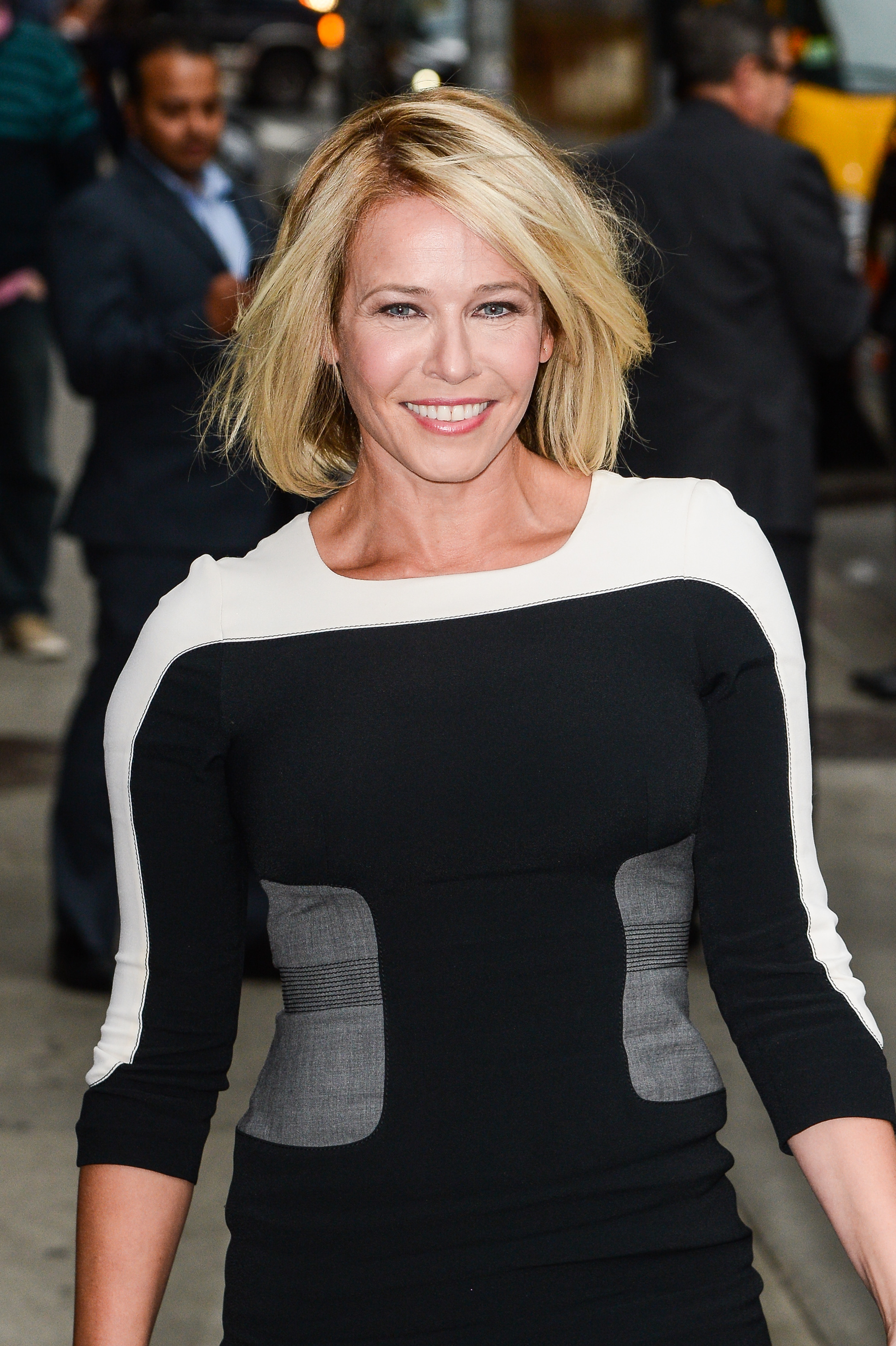 Actress Chelsea Handler enters the  Late Show With David Letterman  taping at the Ed Sullivan Theater on October 9, 2014 in New York City.