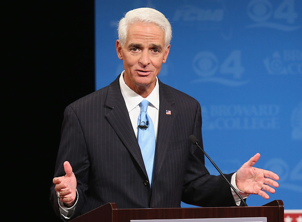Former Florida governor and Democratic candidate for governor Charlie Crist speaks during a televised debate at Broward College in Davie, Fla., on Oct. 15, 2014 in Davie