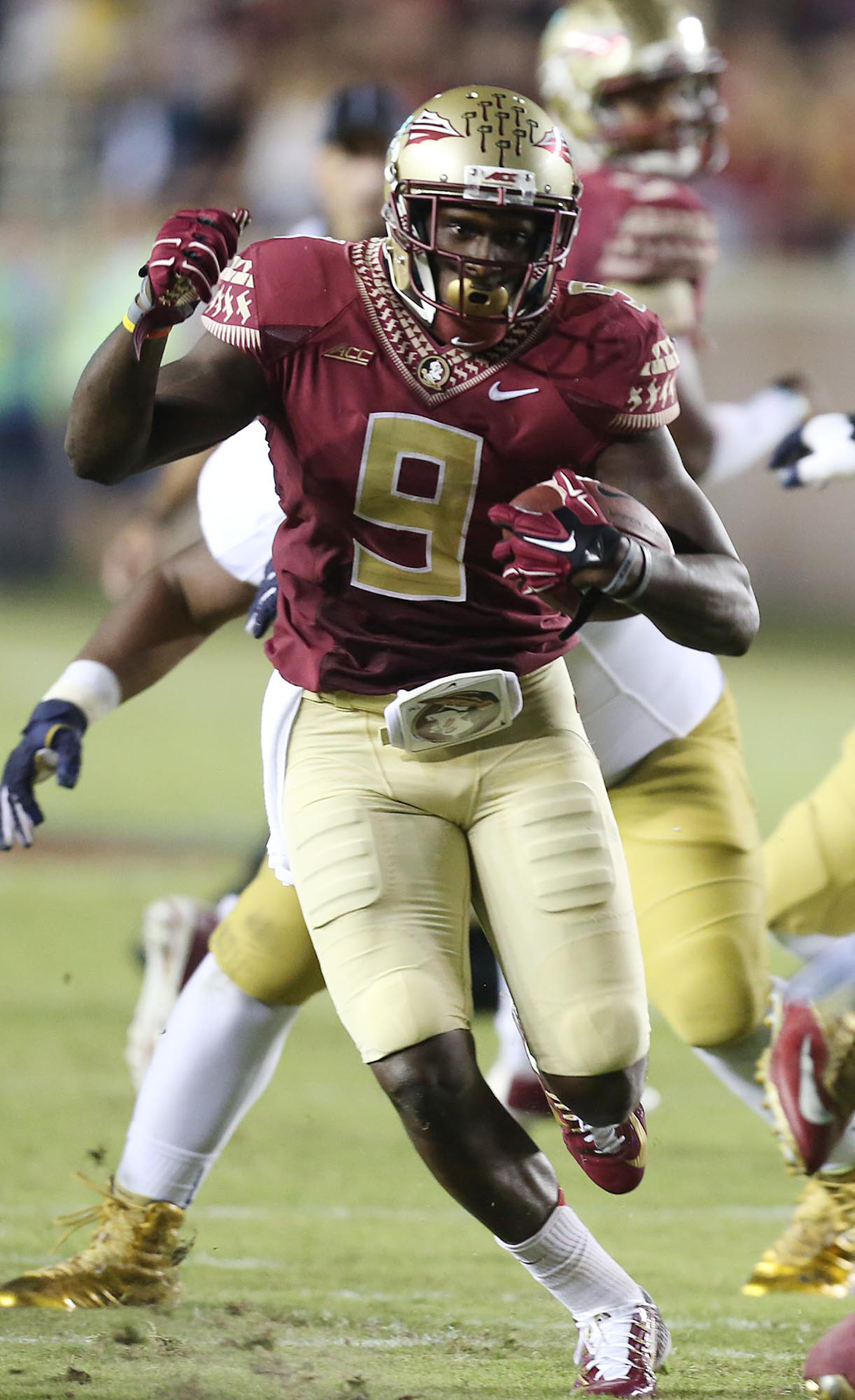 Florida State running back Karlos Williams picks up yards against Notre Dame at Doak Campbell Stadium in Tallahassee, Fla., on Saturday, Oct. 18.