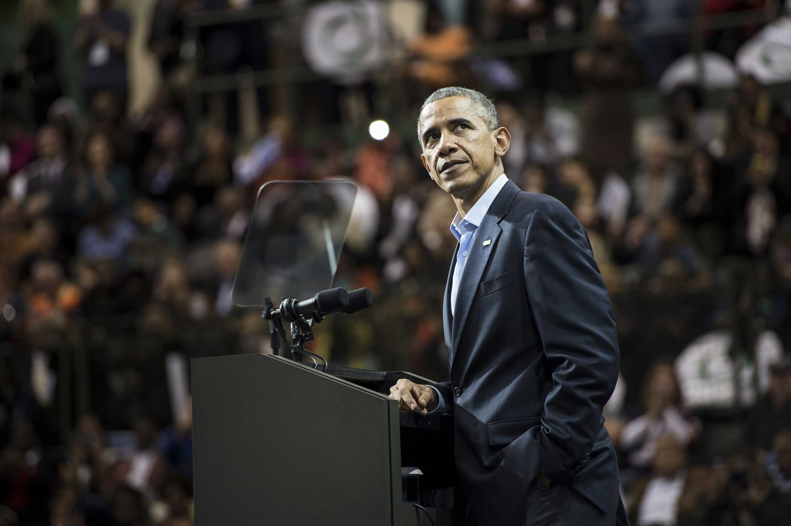 President Barack Obama pauses while speaking during a rally at Chicago State University Oct. 19, 2014 in Chicago.