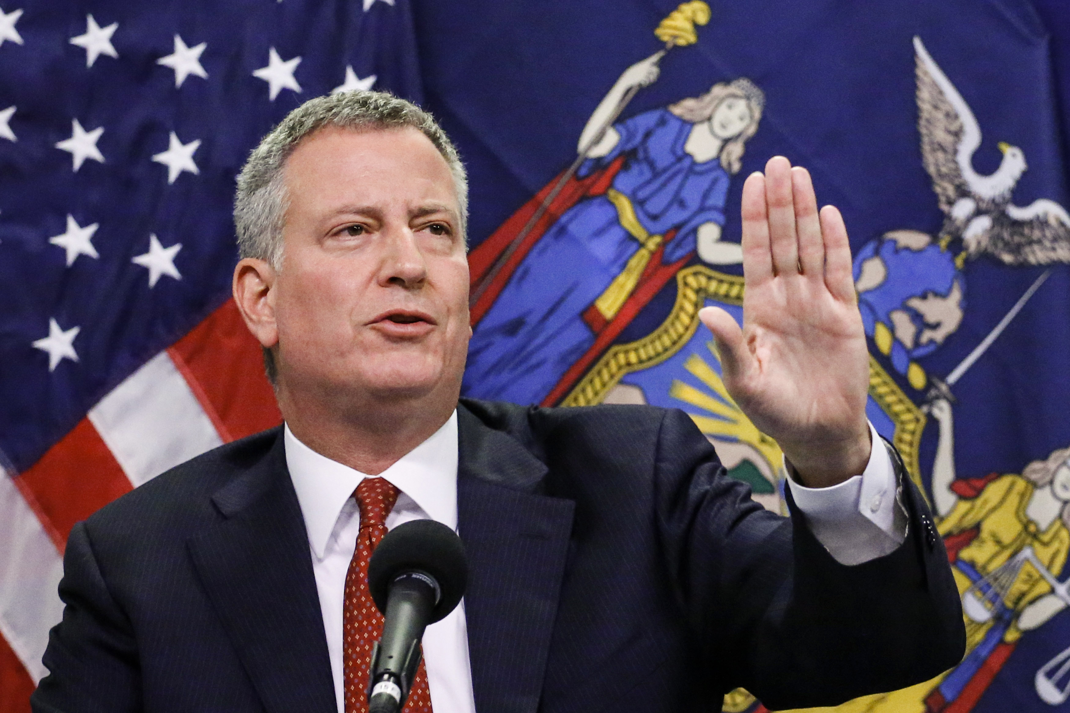 Mayor Bill de Blasio of New York City speaks at a press conference October 24, 2014 in New York City. In New York City.