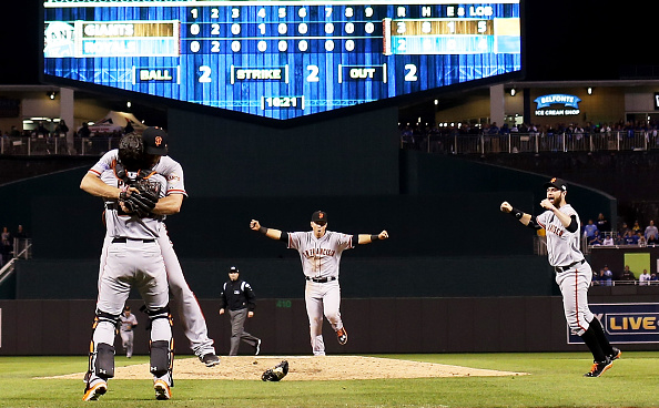 The San Francisco Giants celebrate after defeating the Kansas City Royals to win the World Series at Kauffman Stadium in Kansas City on Oct. 29, 2014