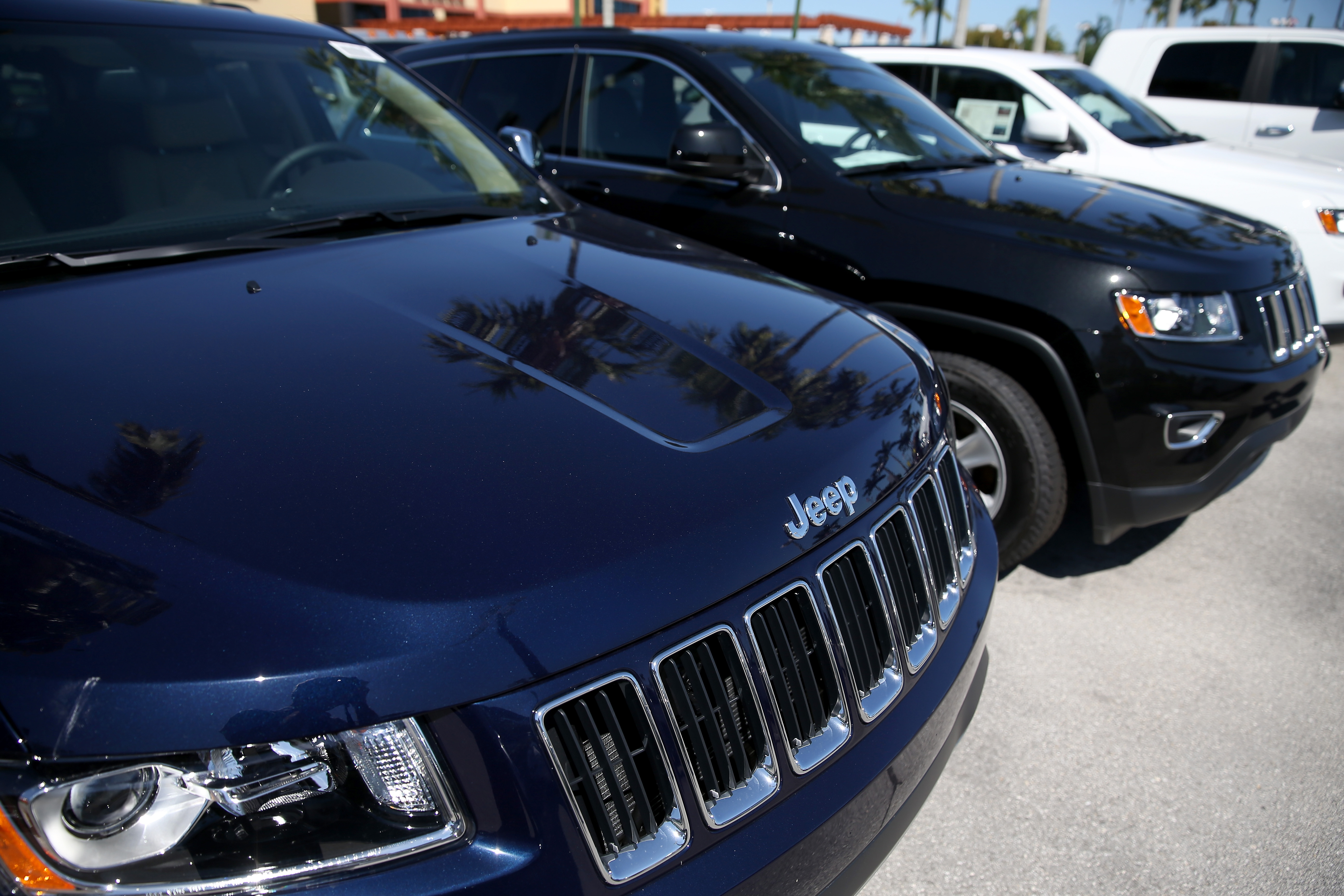 2014 Jeep Cherokees are seen on a sales lot on April 2, 2014 in Miami, Florida.