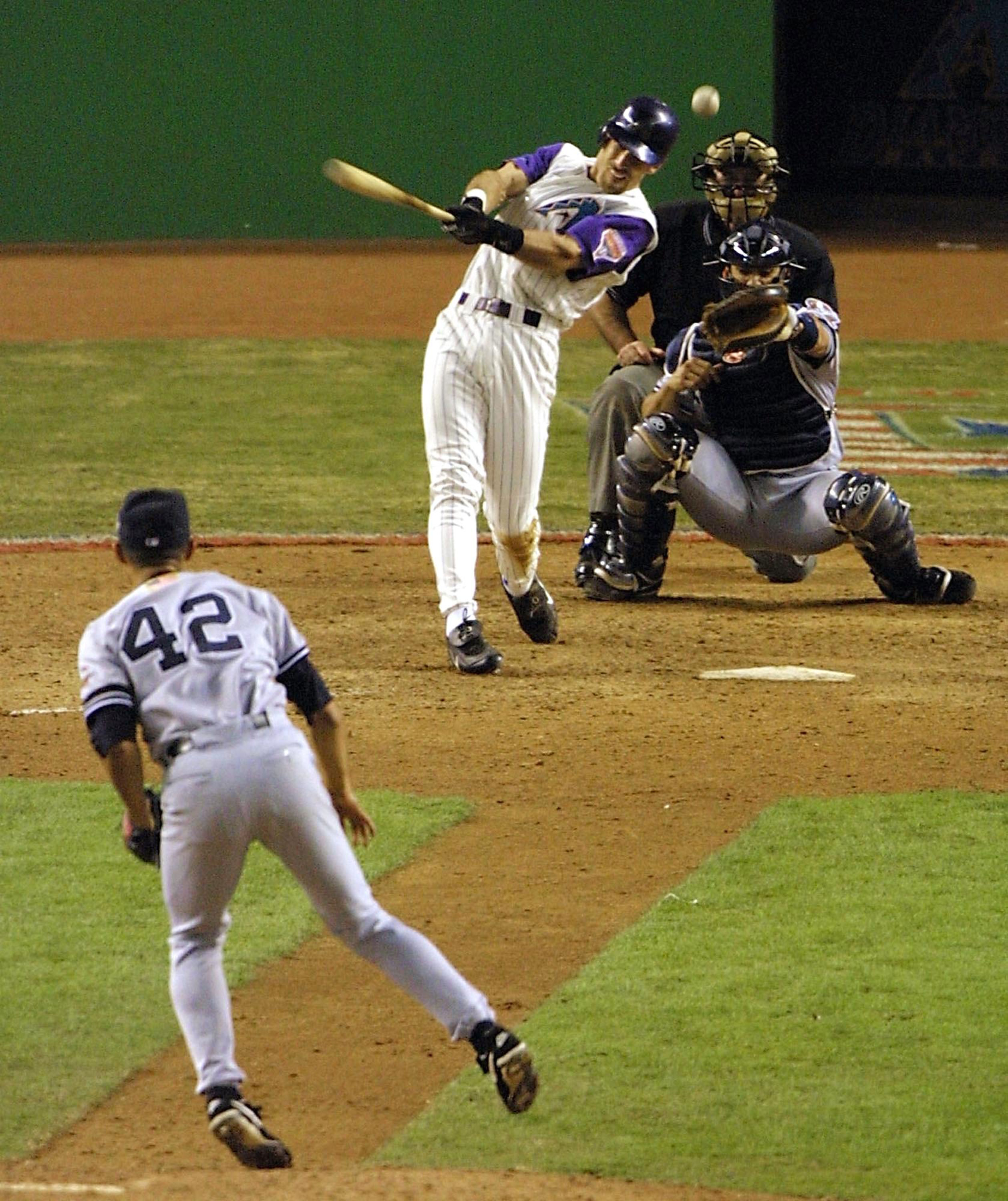 Nov. 4, 2001: Luis Gonzalez, of the Arizona Diamondbacks, at bat, bottom of the 9th, Game 7, the greatest closer of all time, Mariano Rivera, of the New York Yankees is on the mound.  The Yankees are looking for their fourth world series in a roll to continue their dynasty.  The score is tied, 2-2, bases are loaded.  Gonzalez hits a floater into the shallow centerfield, and the Diamondbacks win the World Series.