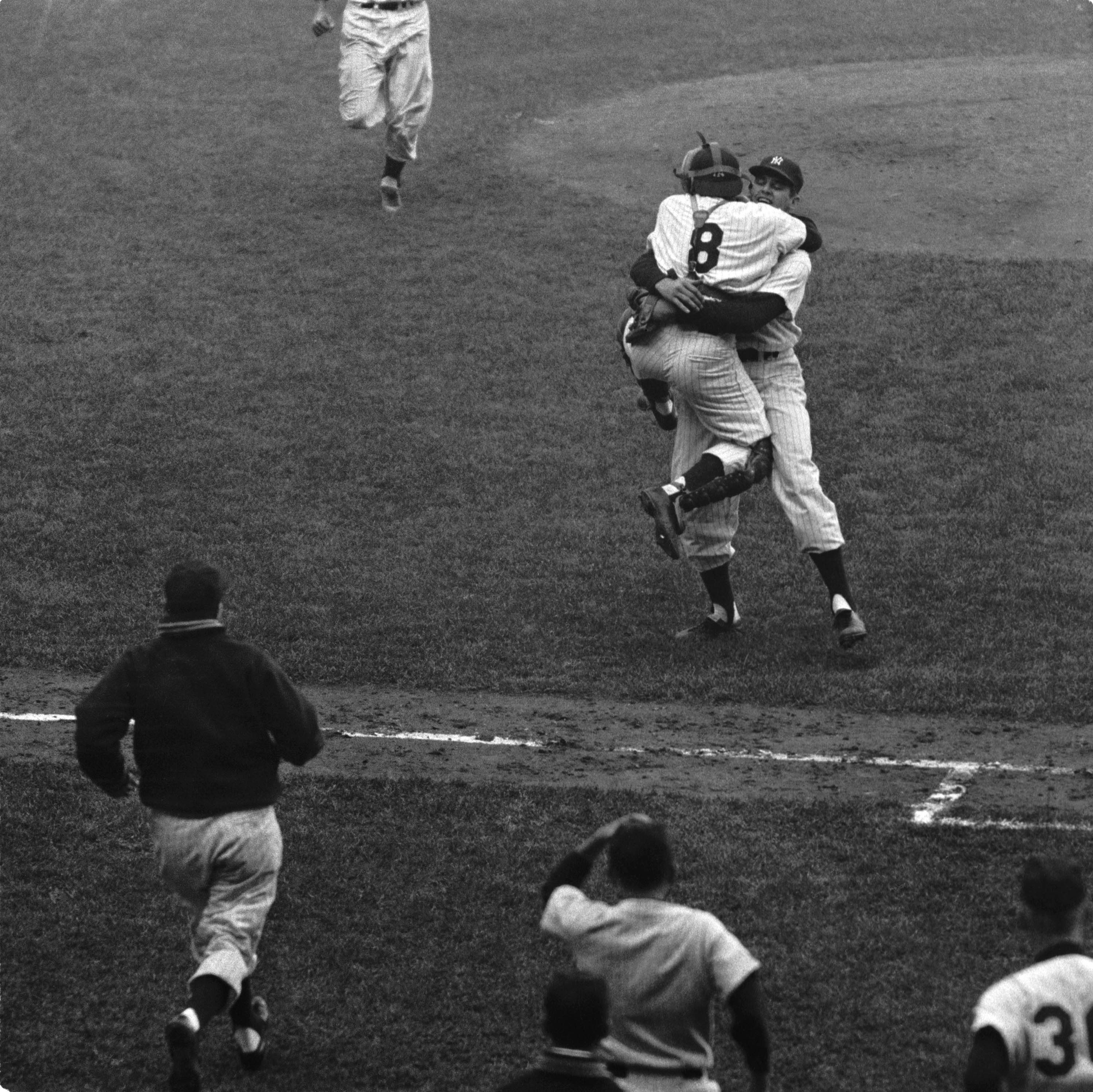 Oct. 8, 1956: Don Larsen of the New York Yankees pitches the only perfect game in World Series history, in Game 5 against the Brooklyn Dodgers.