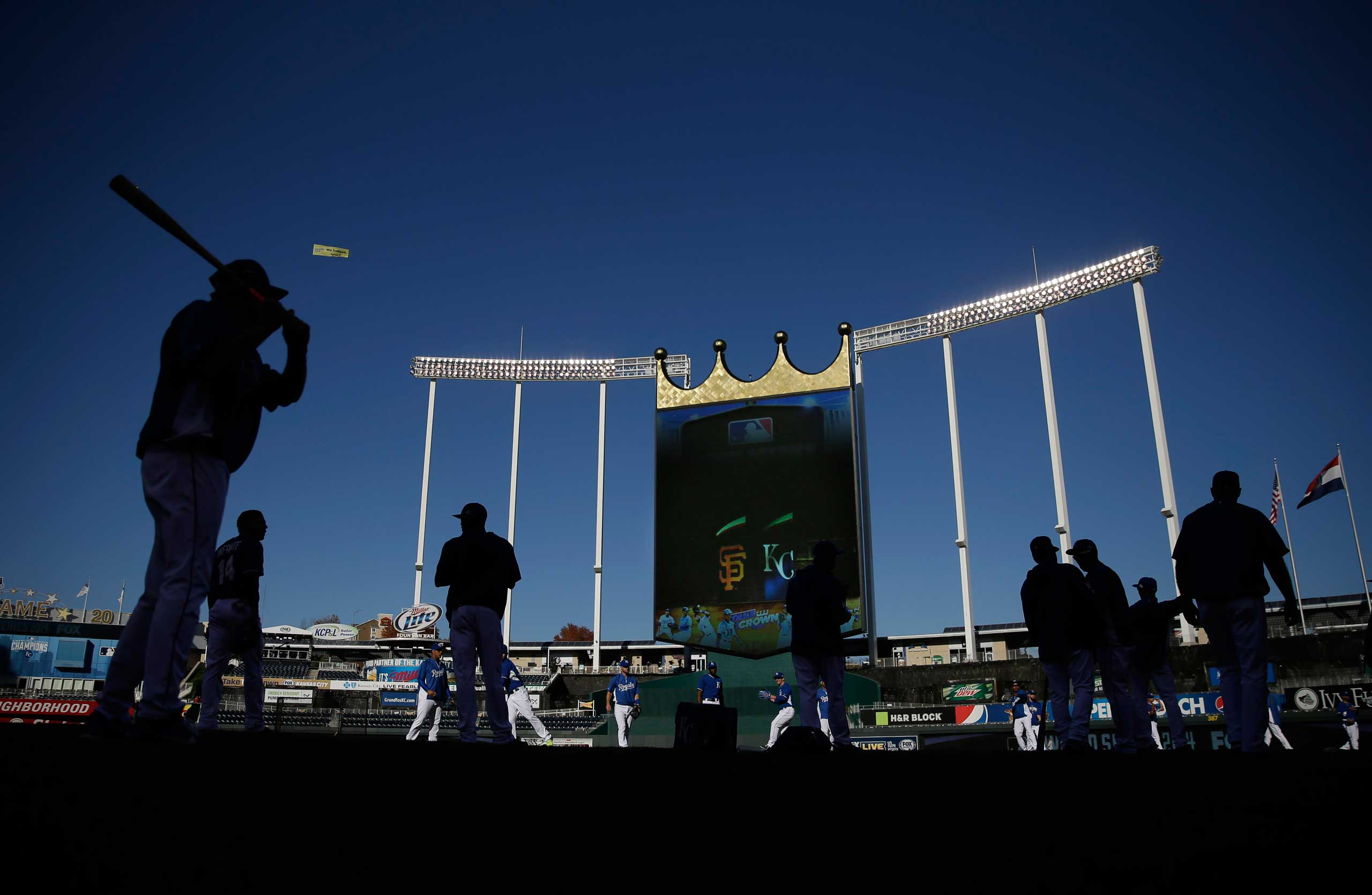 Oct. 21, 2014. Kansas City Royals warm up before Game 1 of baseball's World Series against the San Francisco Giants Tuesday in Kansas City, Mo.