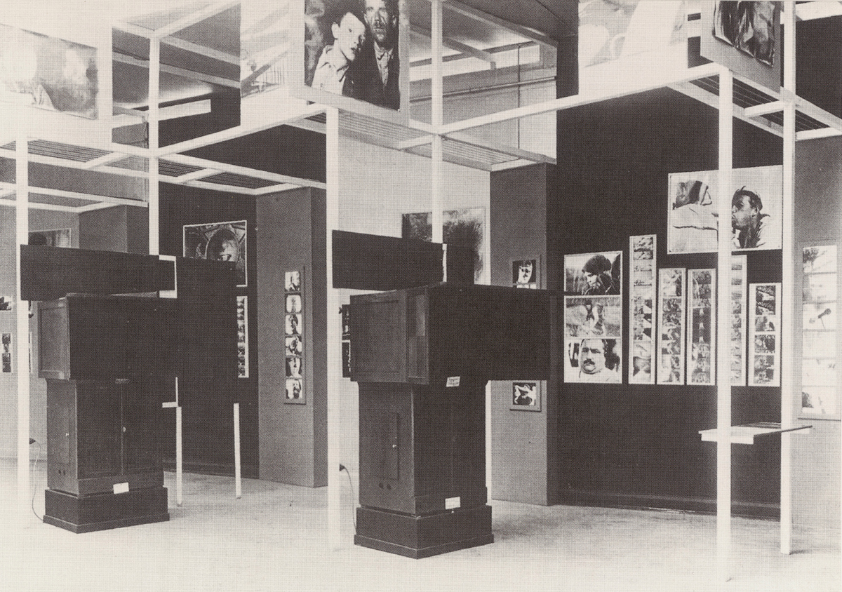 Room 4 of Film und Foto El Lissitzky's selection of soviet films and photographs. The exhibition also included machines designed by the                               director Sergei Eisenstein, on which the films could be watched.