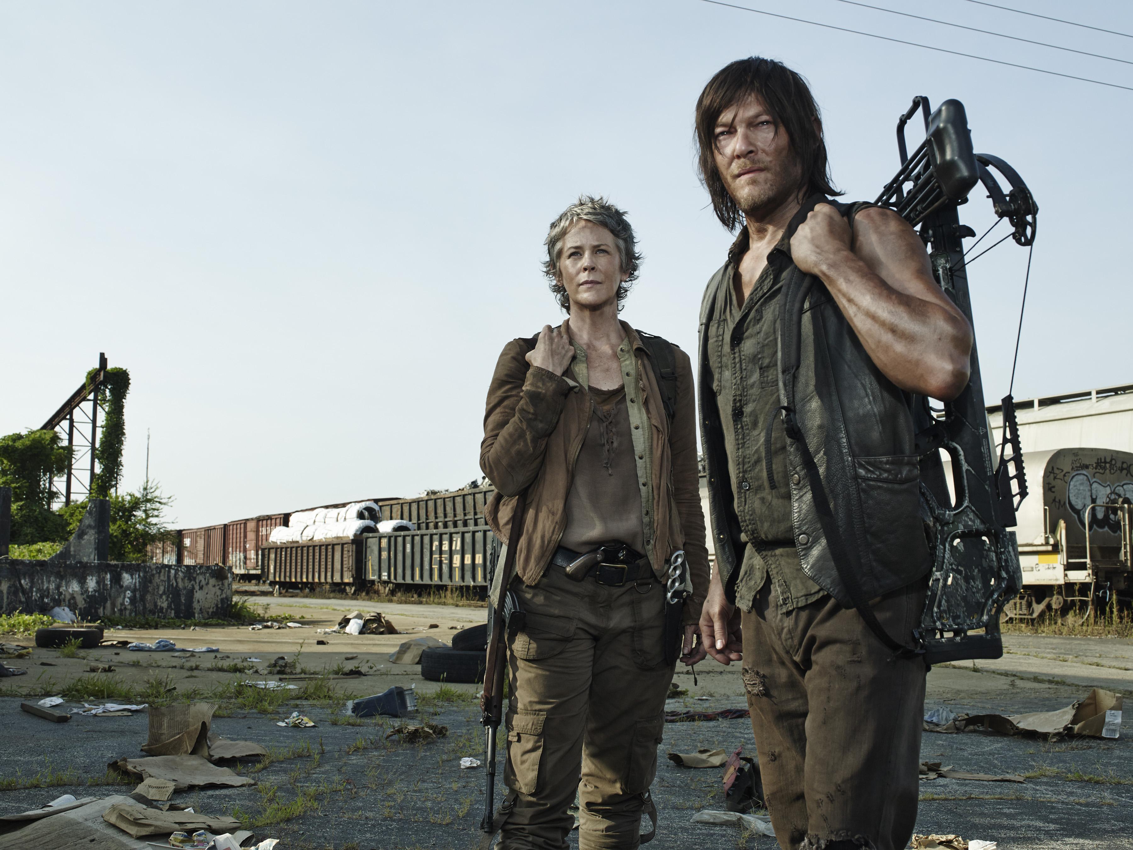 Melissa McBride as Carol Peletier and Norman Reedus as Daryl Dixon.