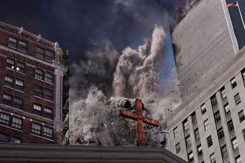 """The following photographs were all made on 9/11 and are described here in Nachtwey's own words: """"In my mind it all went into slow motion. Everything was floating. I thought I had all the time in the world to make the picture, and only at the last moment realized I was about to be taken out."""""""