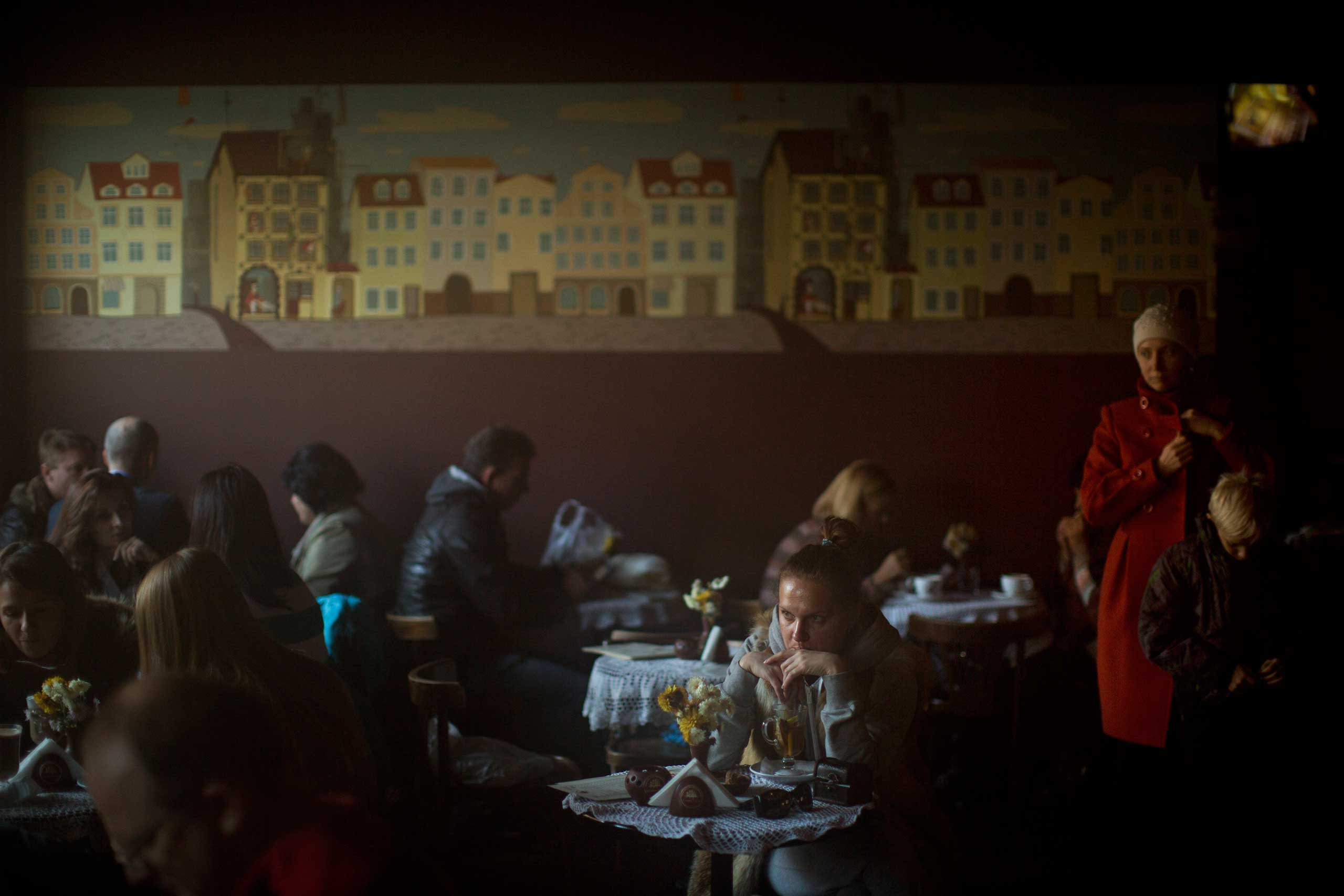 Oct. 25, 2014. Patrons sit in a coffee shop in central Kiev, Ukraine.