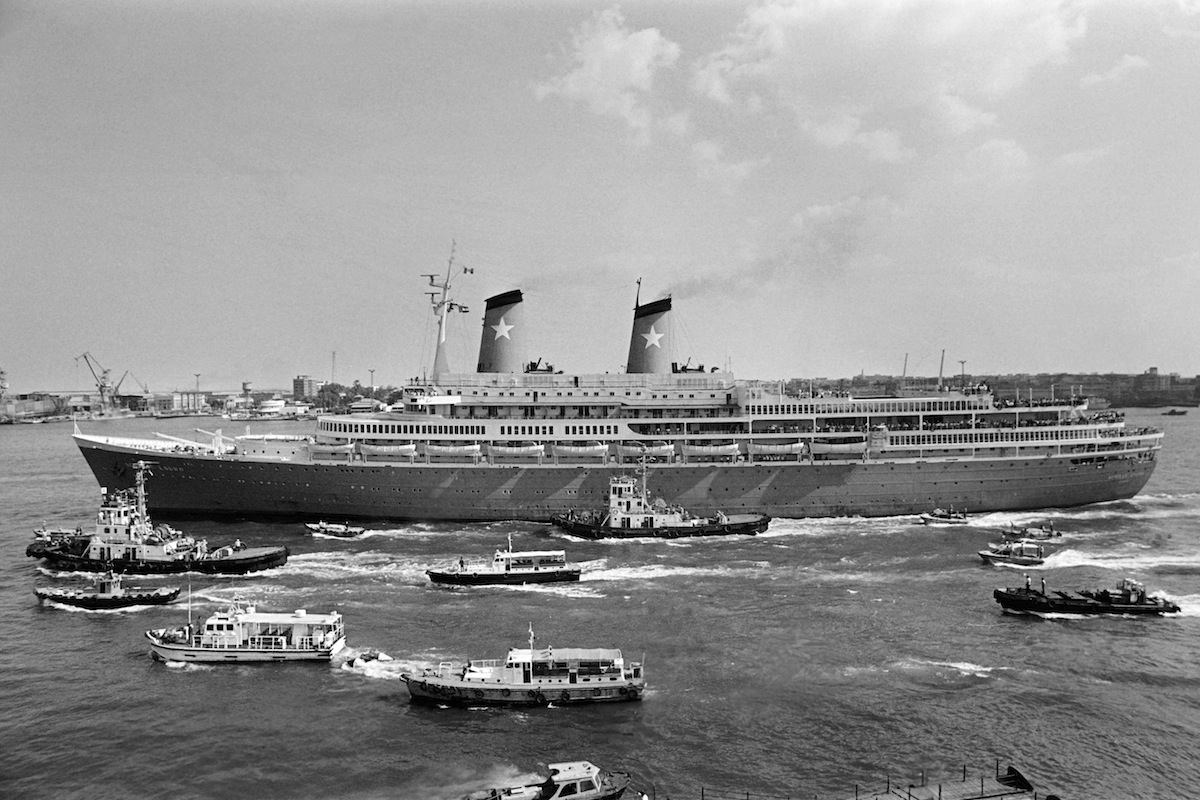Italian cruise ship Achille Lauro leaves Port Said harbor on Oct. 10, 1985 after Egyptian authorities stopped it from sailing to the Israeli port of Ashdod.