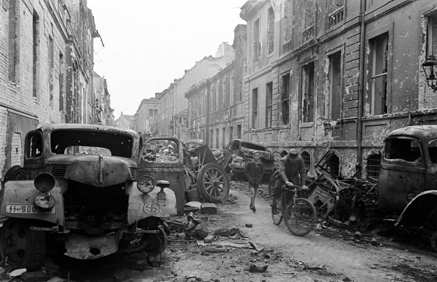 <b>Not published in LIFE.</b>  Oberwallstrasse, in central Berlin, saw some of the most vicious fighting between German and Soviet troops in the spring of 1945