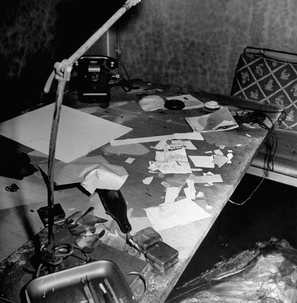 Desk inside Adolf Hitler's bunker, Berlin, 1945.