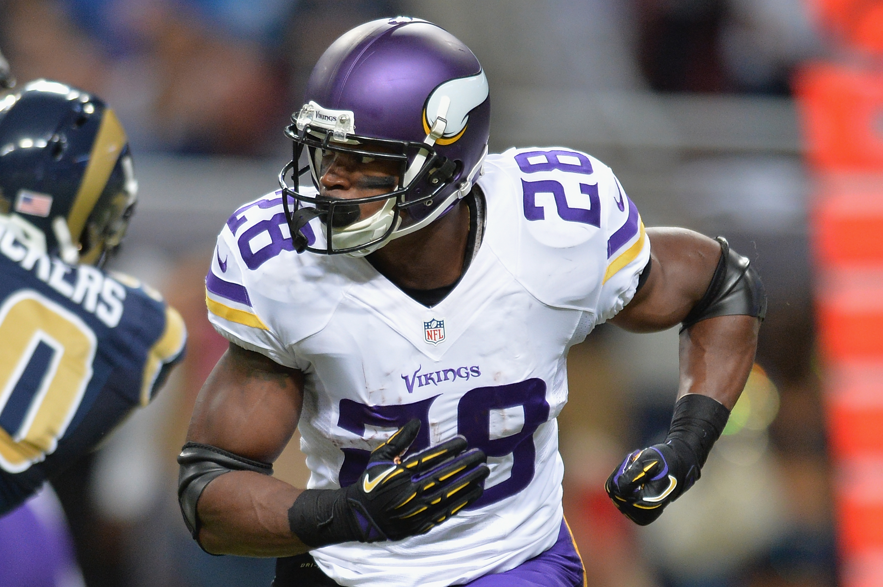 Adrian Peterson #28 of the Minnesota Vikings plays against the St. Louis Rams on Sept. 7 in St. Louis.